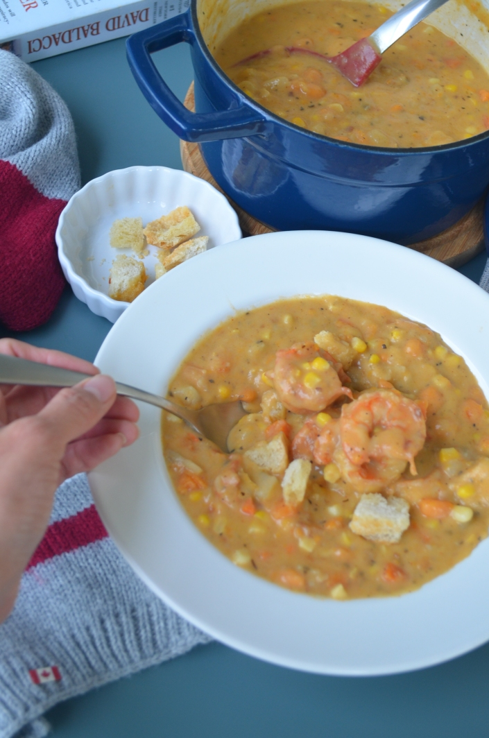 Creamy Sweet Potato and Shrimp Chowder By SweetNSpicyLiving.com
