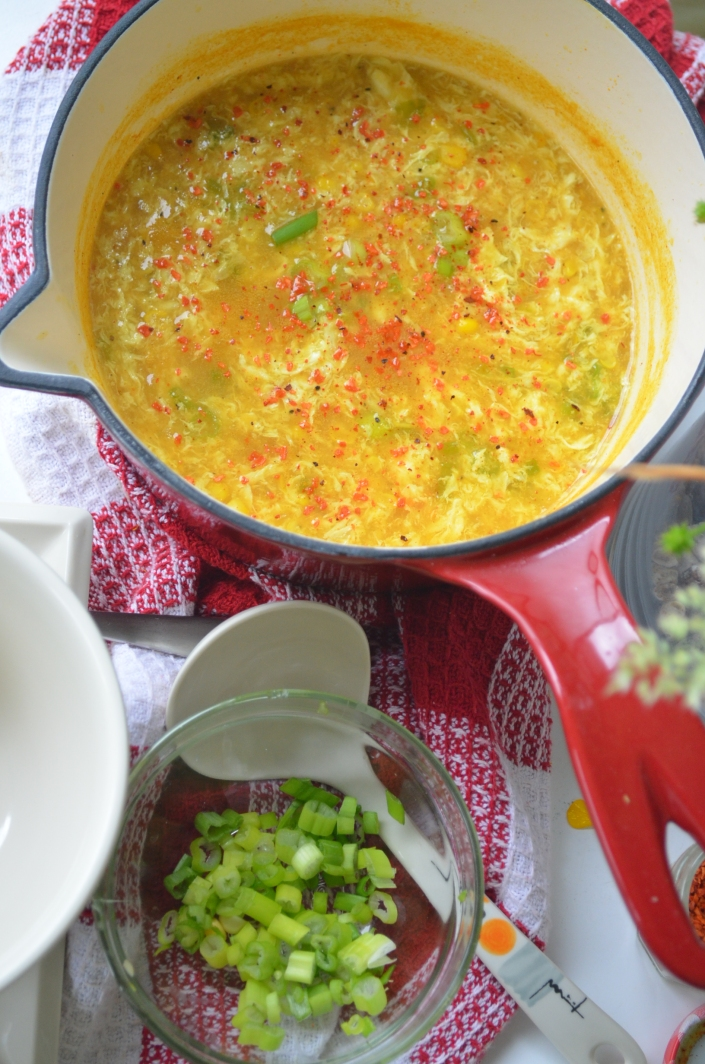 Egg Drop Corn Soup By SweetNSpicyLiving.com