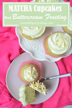 Matcha Cupcake with Vanilla Buttercream Frosting