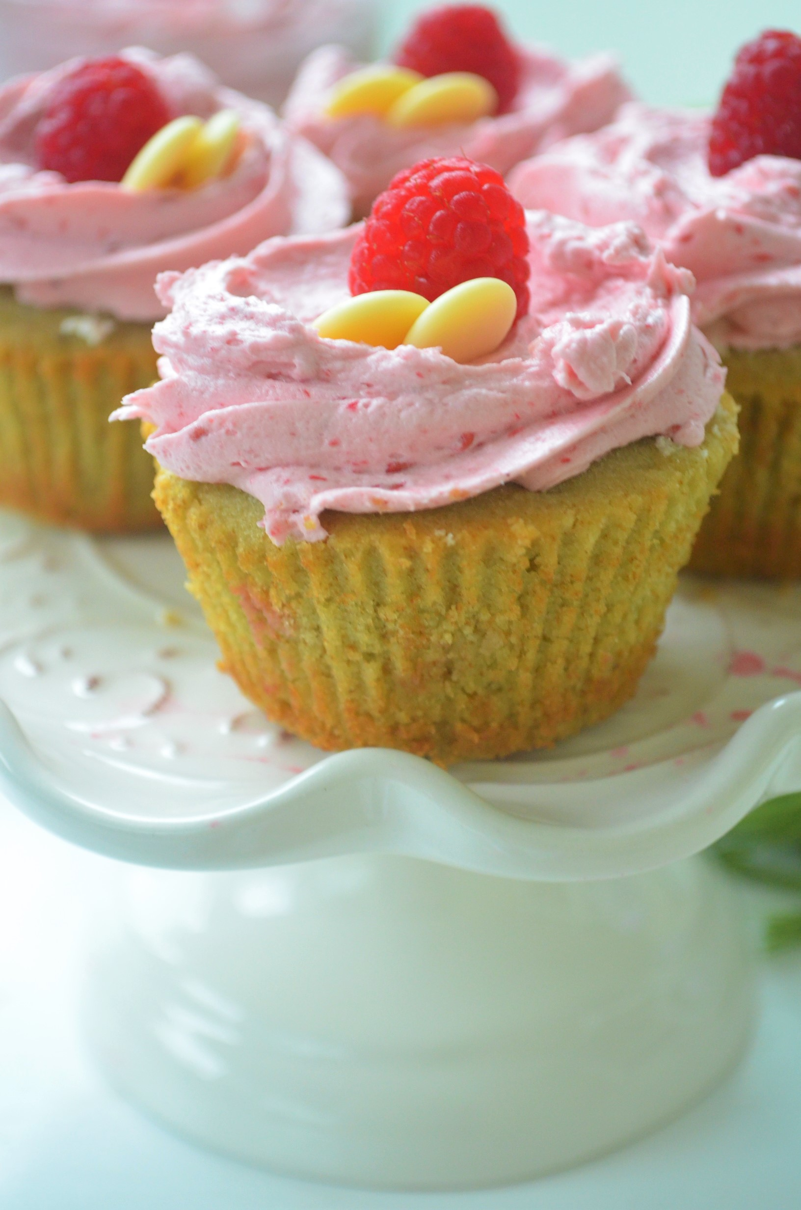 Matcha Cupcakes with Raspberry Buttercream Frosting Recipe By SweetNSpicLiving.com