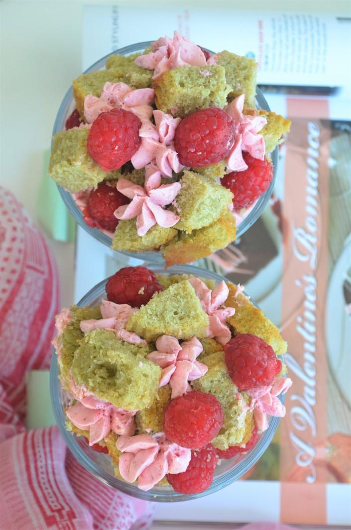 Matcha Raspberry Cake Parfait