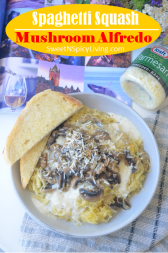 Mushroom Alfredo Spaghetti Squash