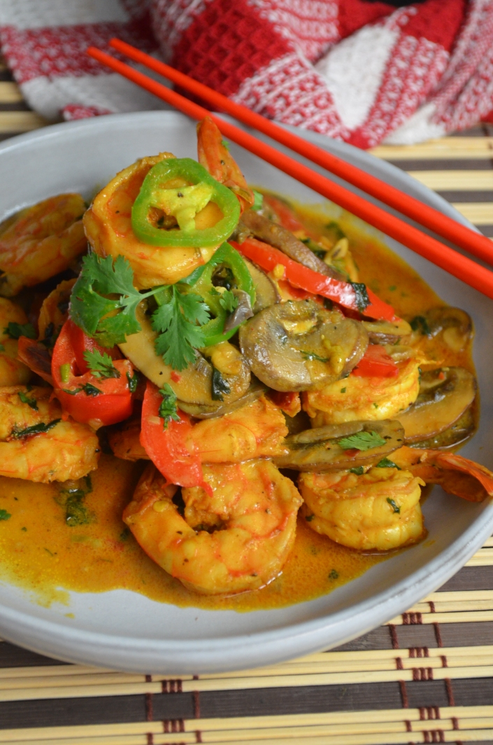Mushroom and Shrimp in Coconut Sauce By SweetNSpicyLiving.com