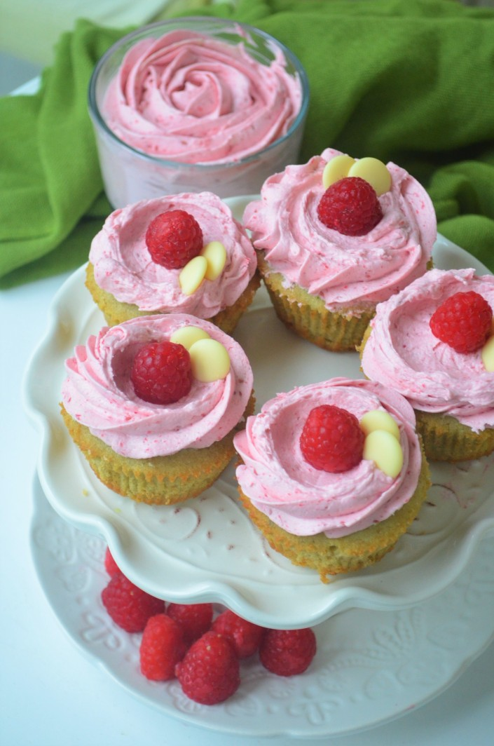 Small Batch Matcha Cupcakes with Raspberry Buttercream Frosting