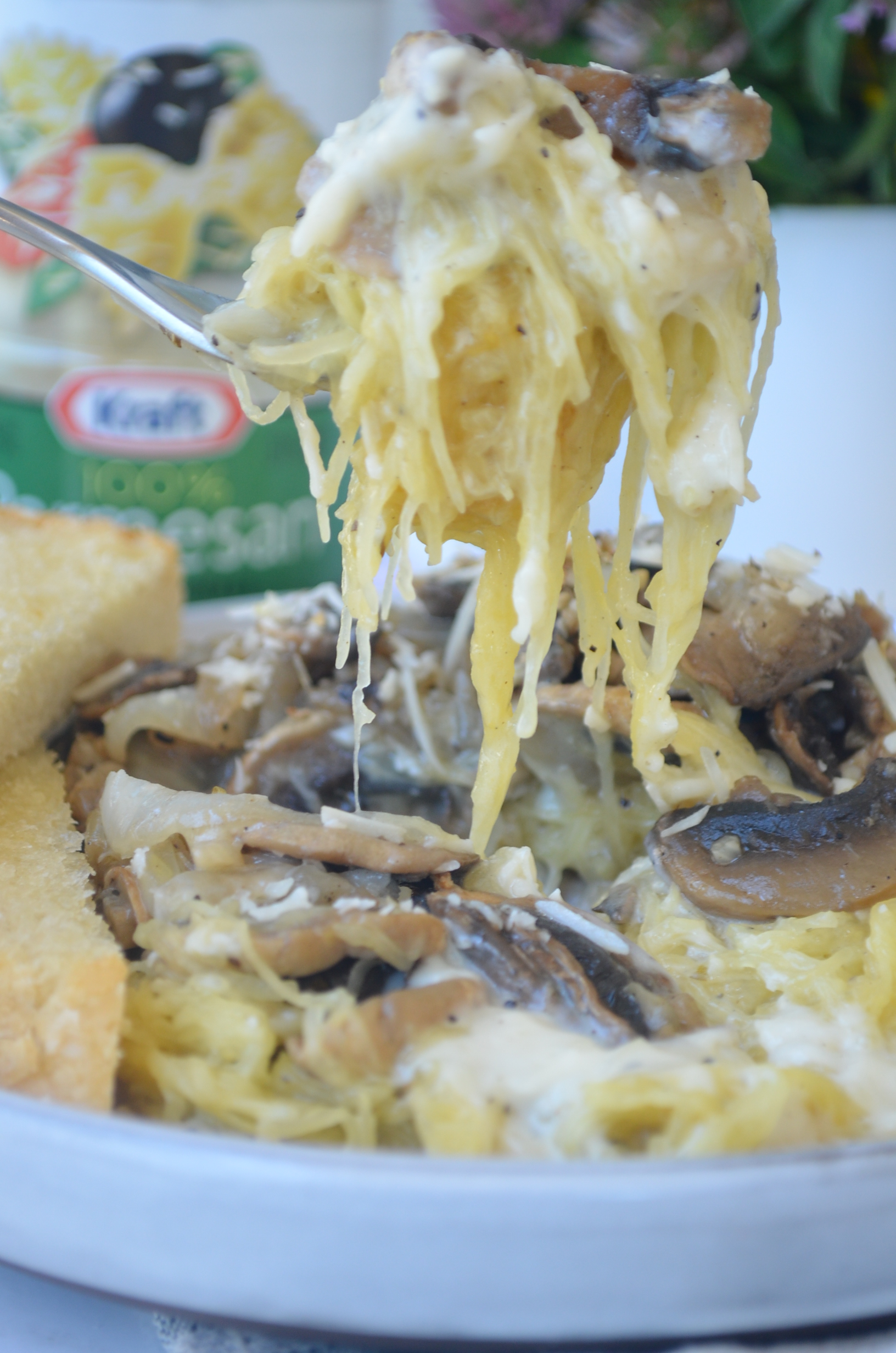 Spaghetti Squash Alfredo with Mushrooms