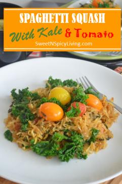 Spaghetti Squash with Kale and Tomato