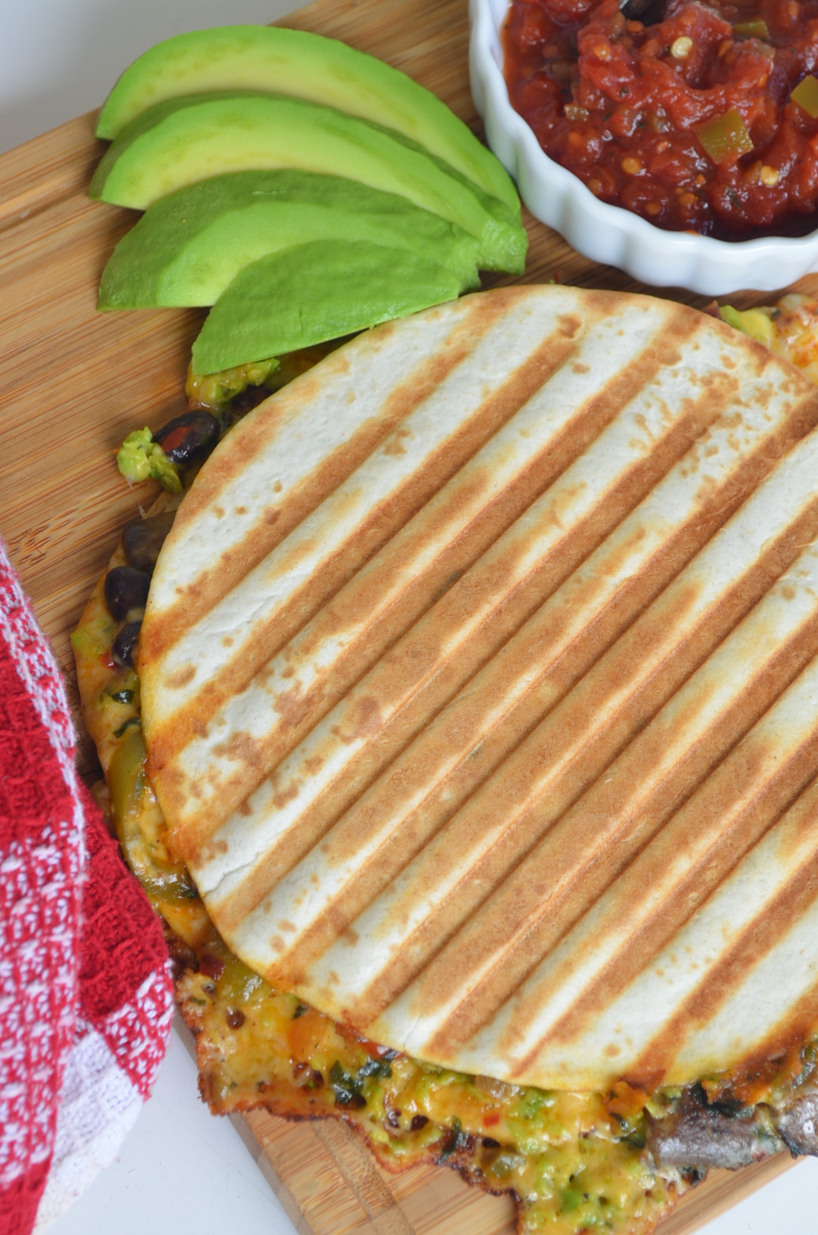 Black Bean, Avocado and Red Pepper Quesadilla