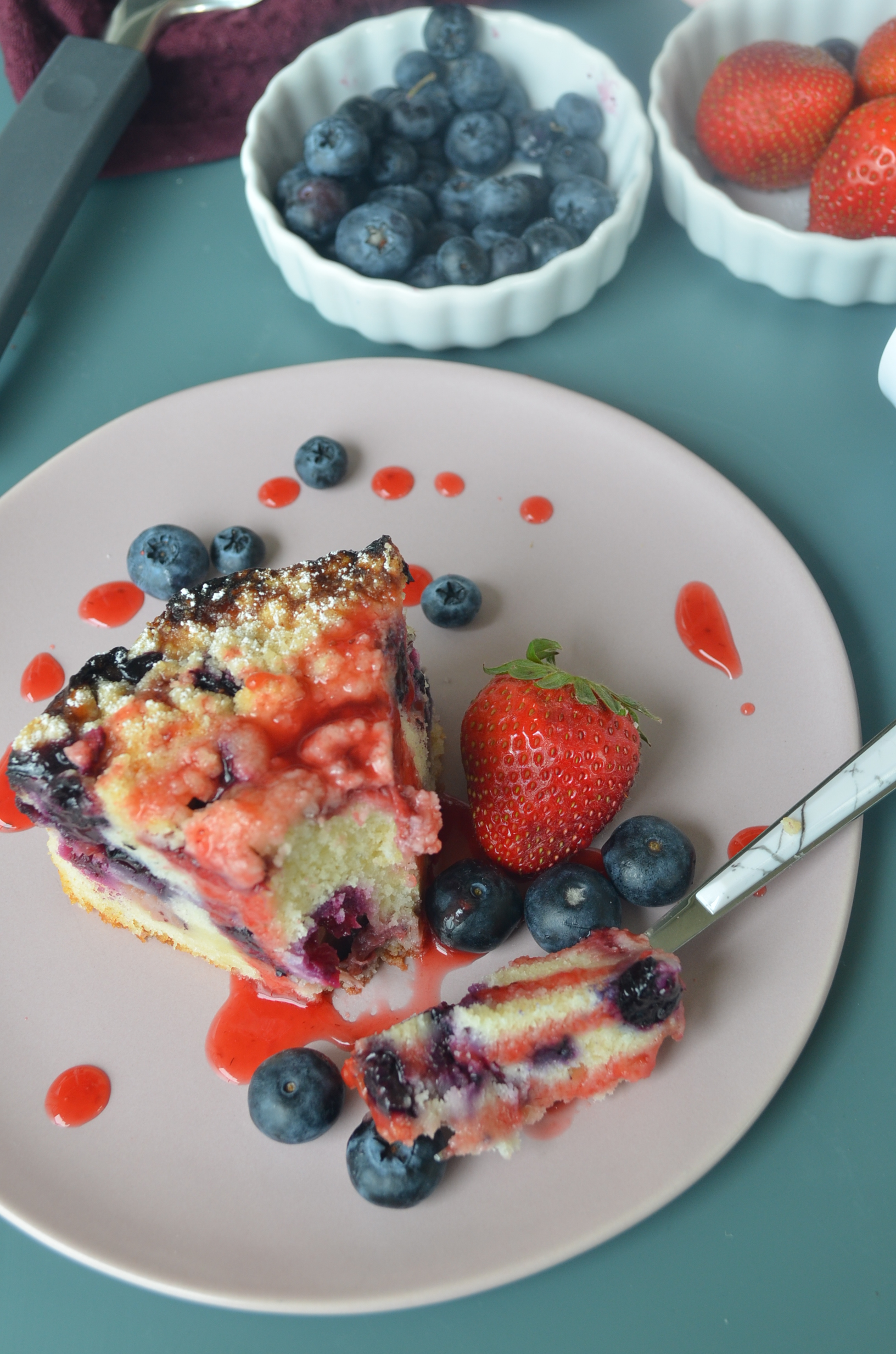 Small Batch Berry Crumb Cake by SweetNSpicyLiving