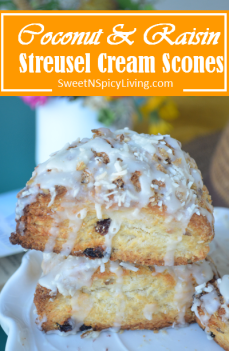 Coconut and Raisin Streusel Scones