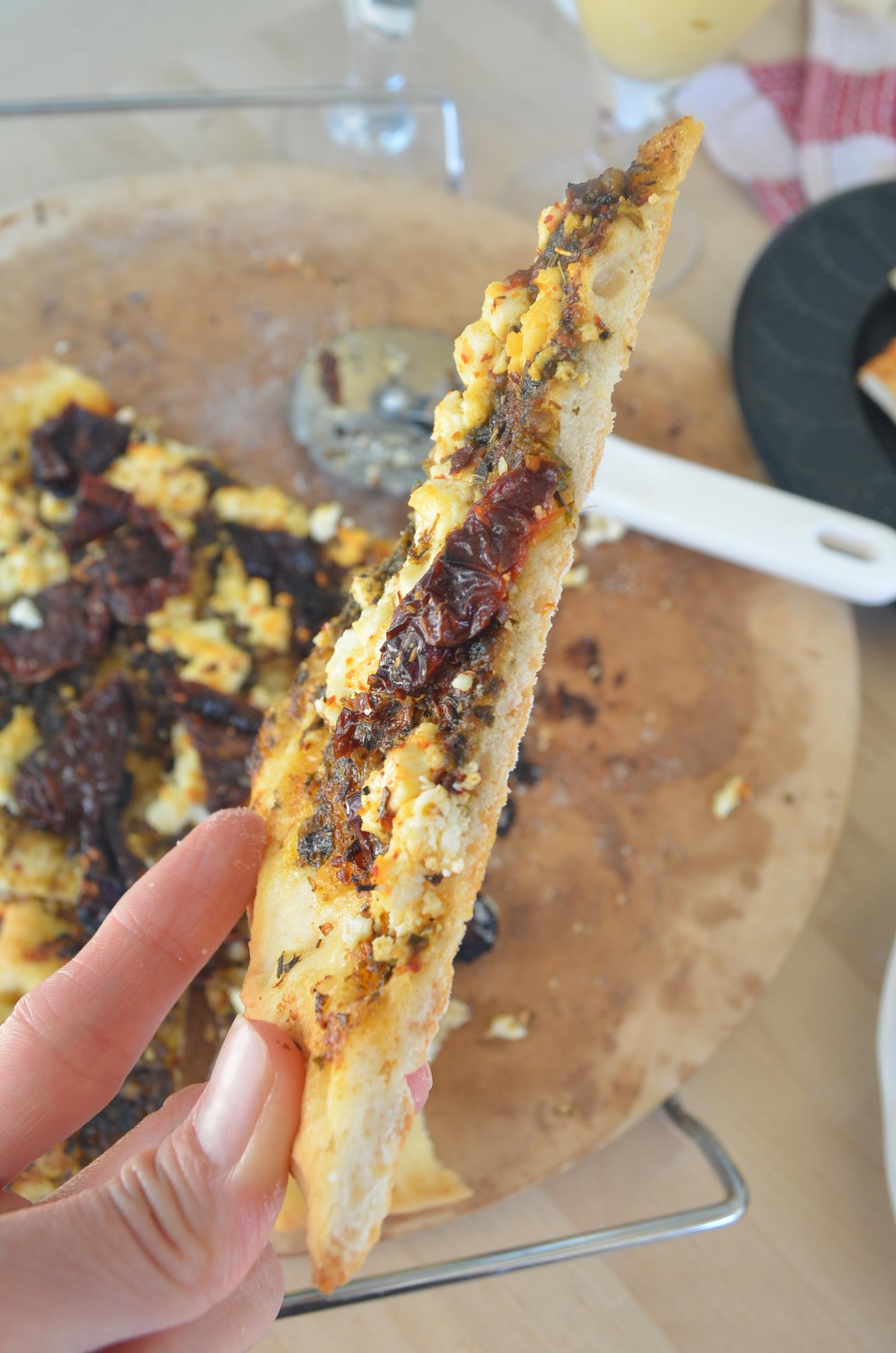 Homemade Pesto Pizza with Sundried Tomato