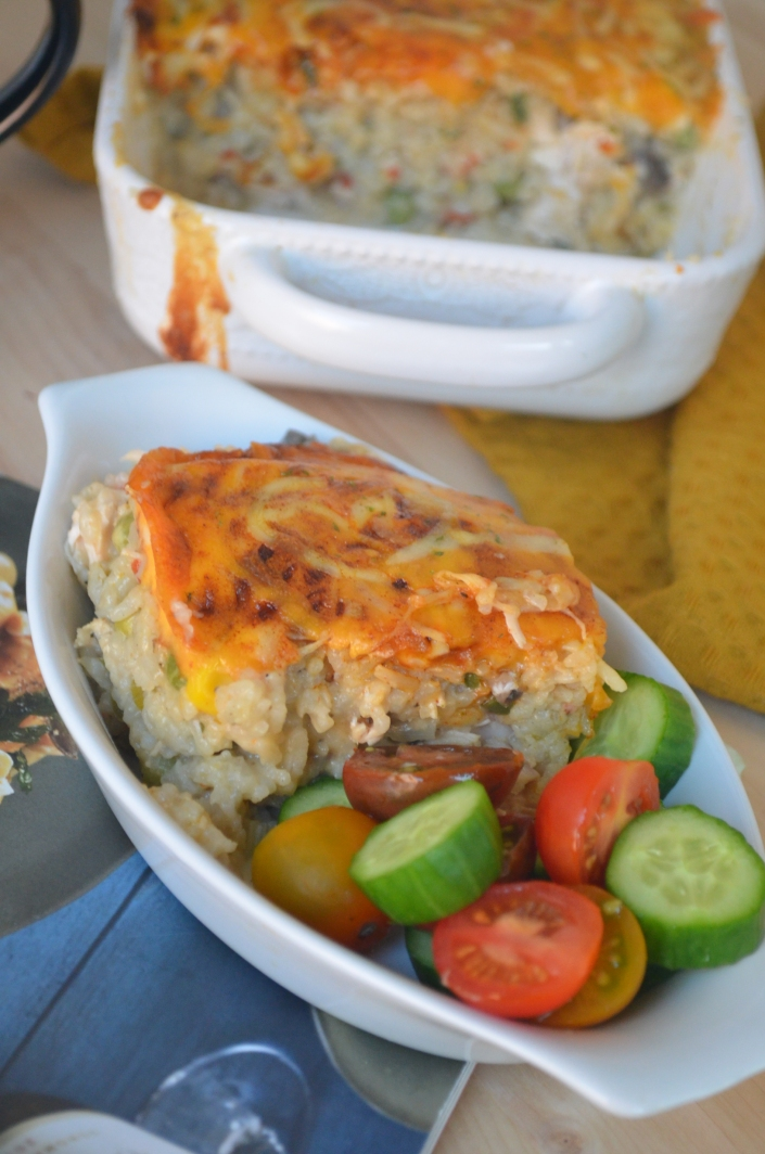 One Pot Cheesy Chicken Mushroom and Rice Casserole