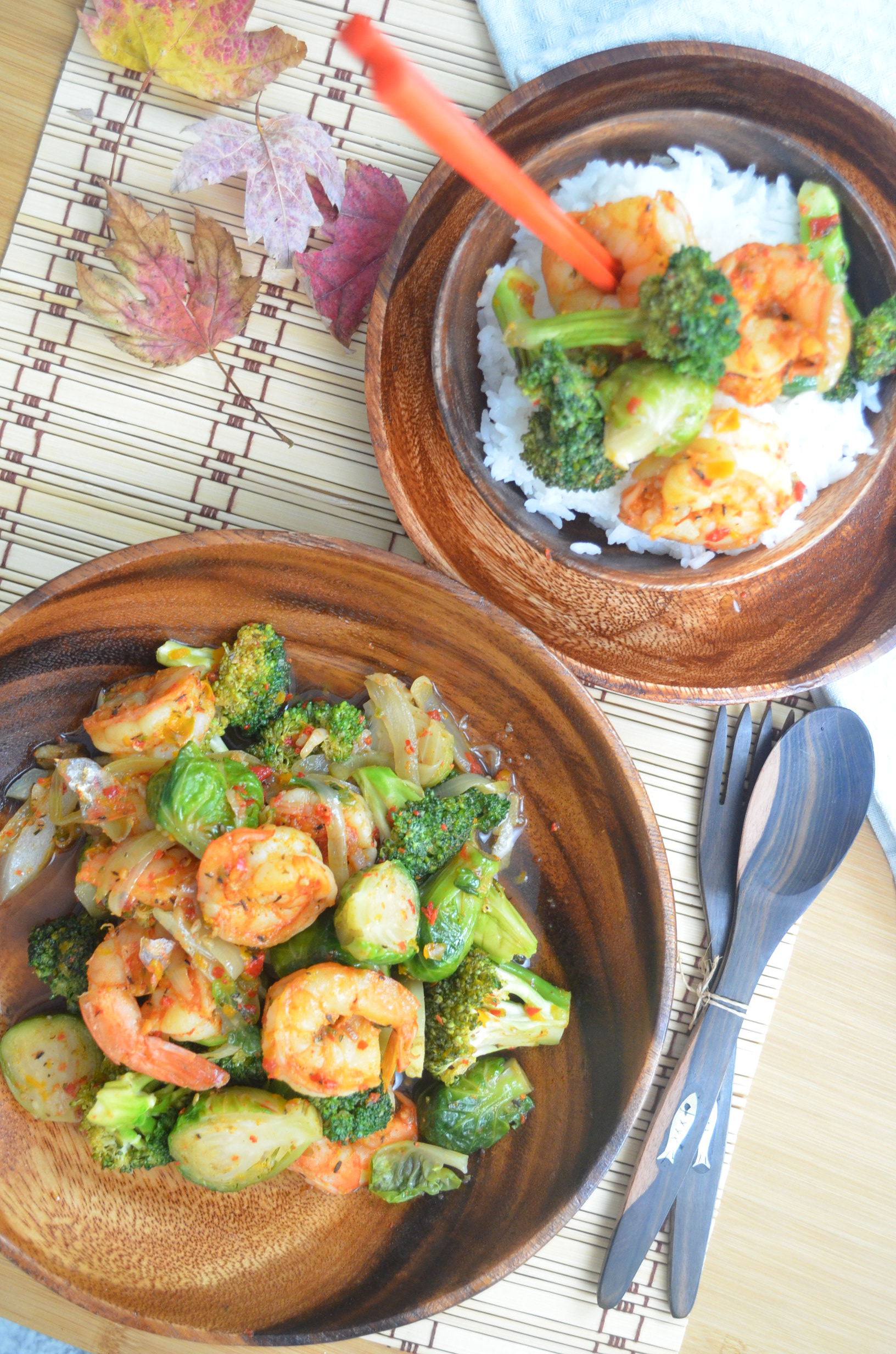 Shrimp and Brussels Sprout Stir-Fry