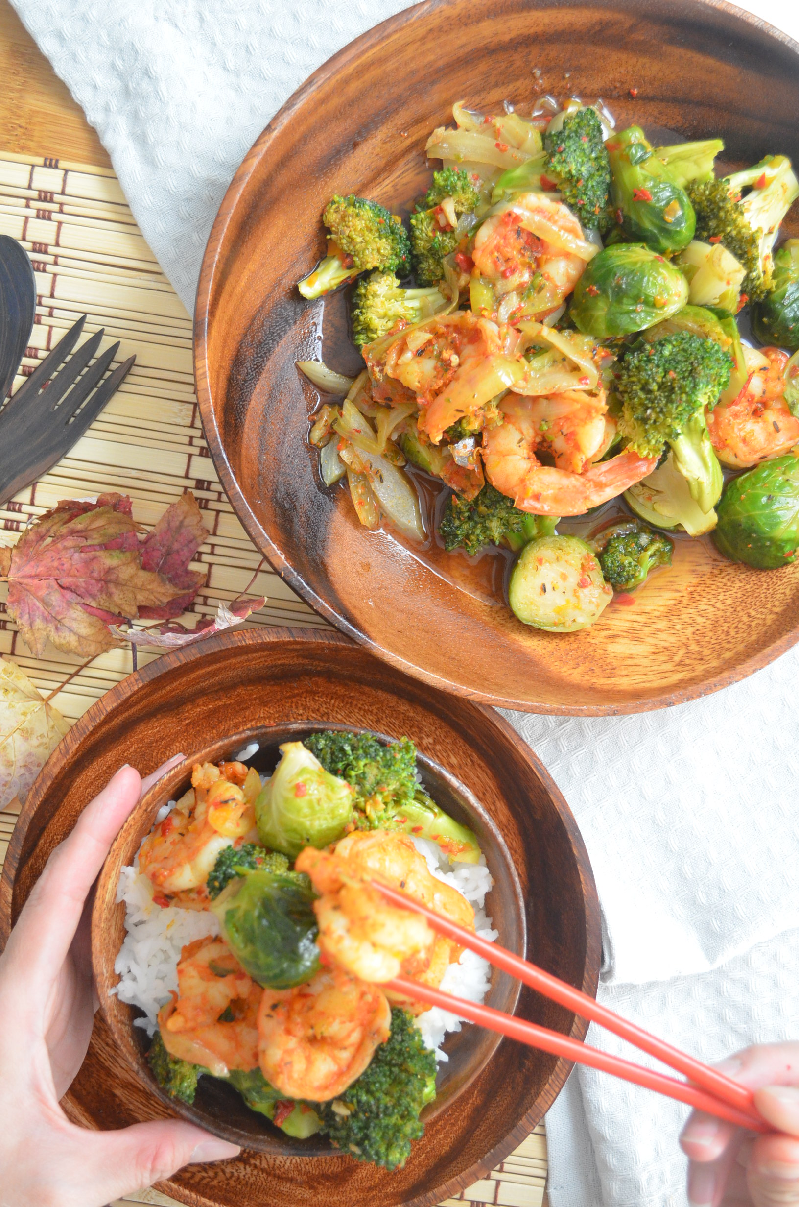 Shrimp Broccoli and Brussels Sprout Stir-Fry