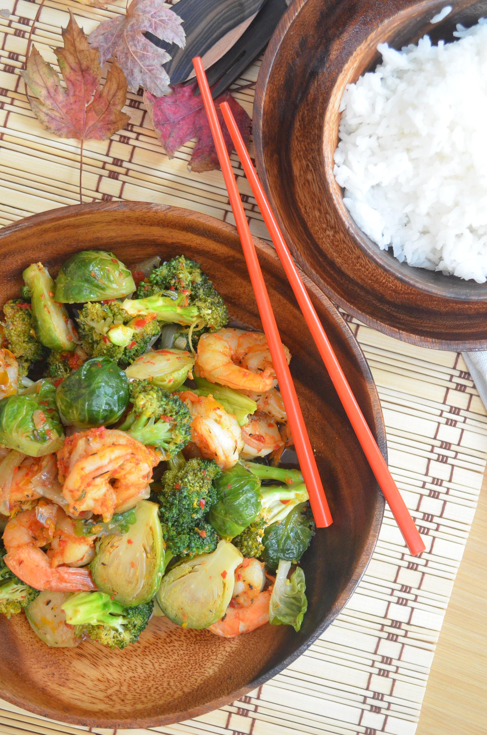 Stir-Fry Shrimp and Brussels Sprout