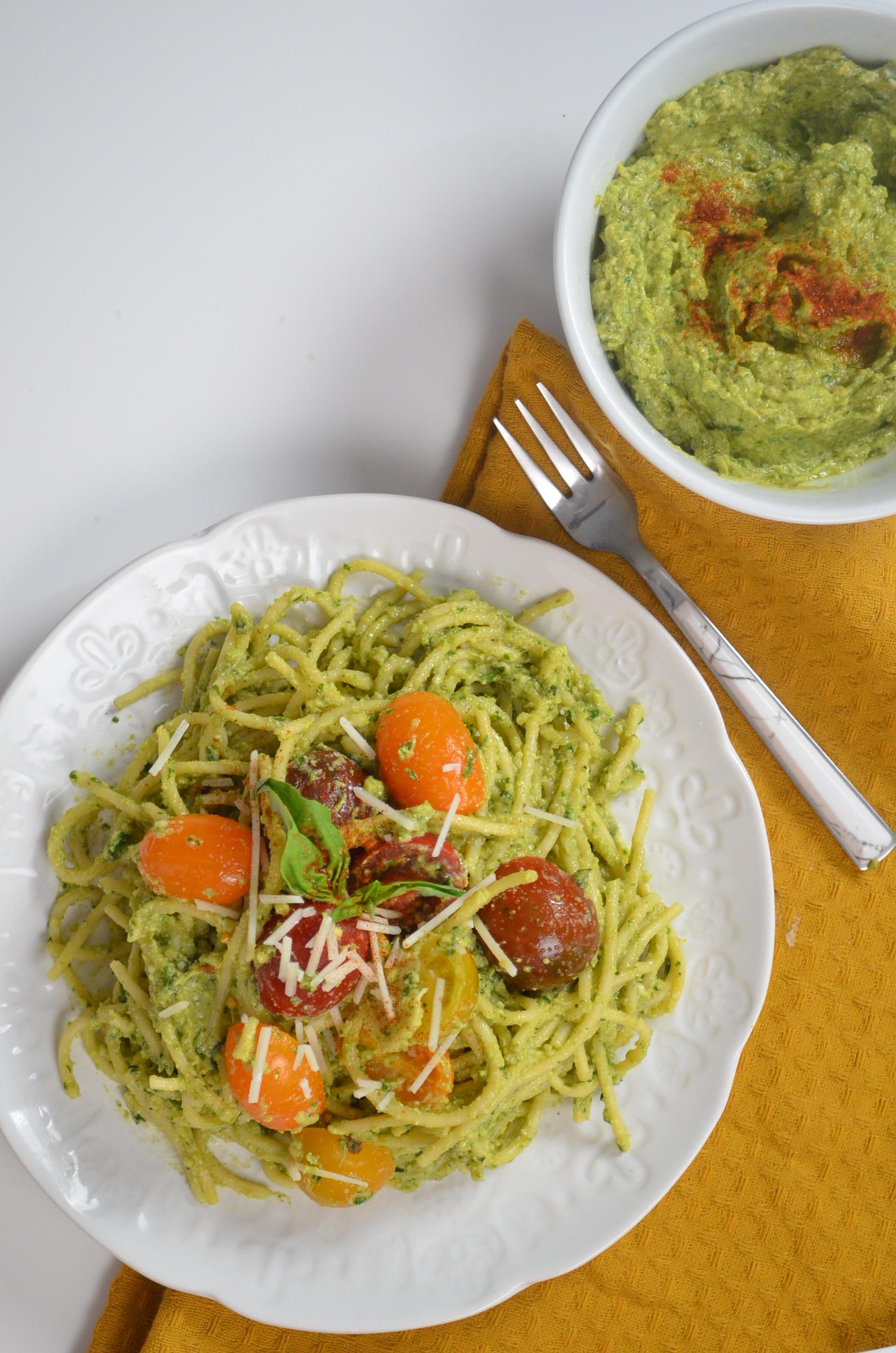Avocado Basil Pesto Spaghetti
