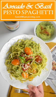 Avocado and Basil Pesto Spaghetti