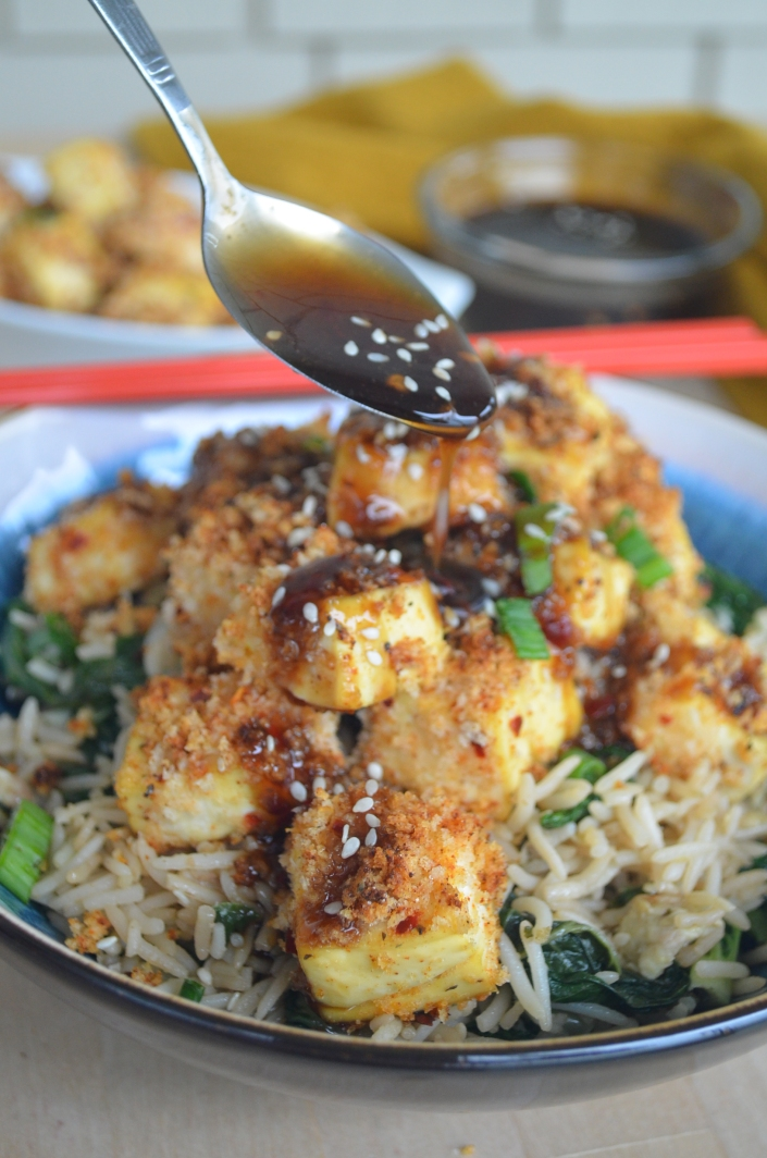 Baked Panko Crusted Sesame Tofu and Bokchoy Fried Ricce Bowl