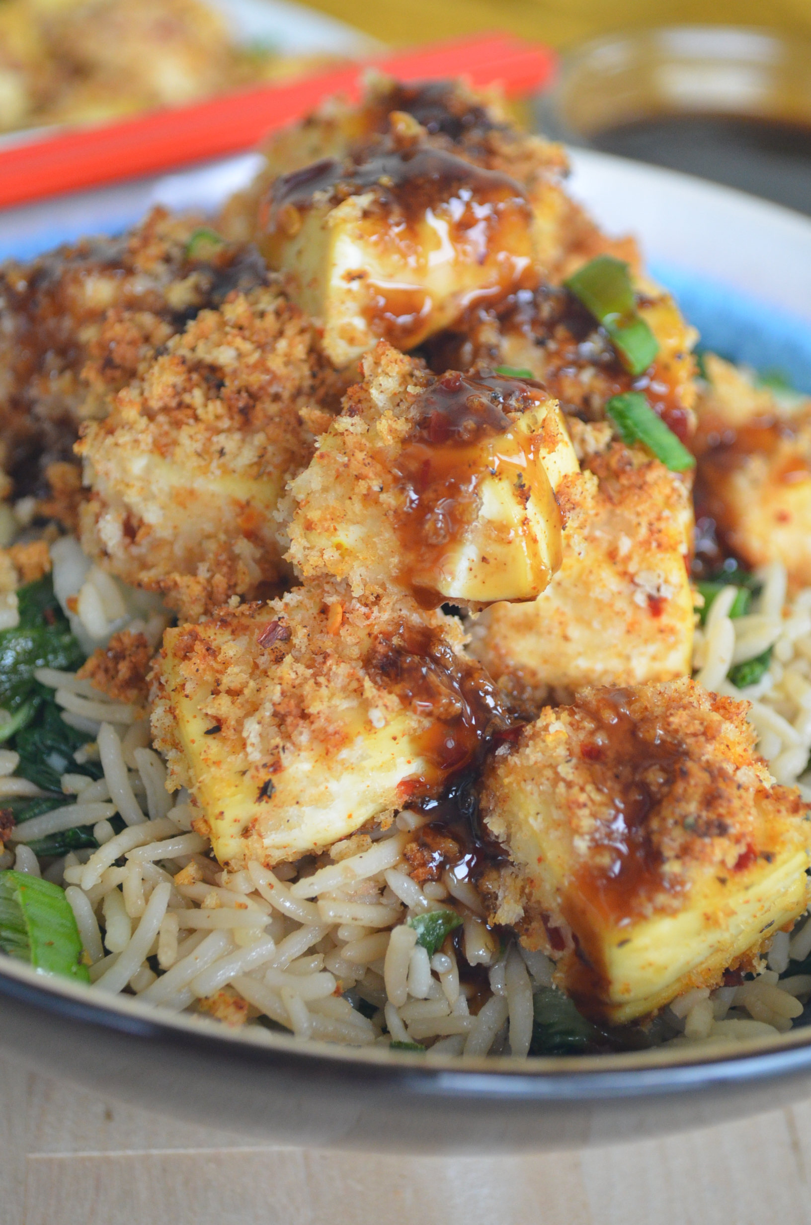 Baked Panko Crusted Tofu and Bokchoy Fried Ricce Bowl