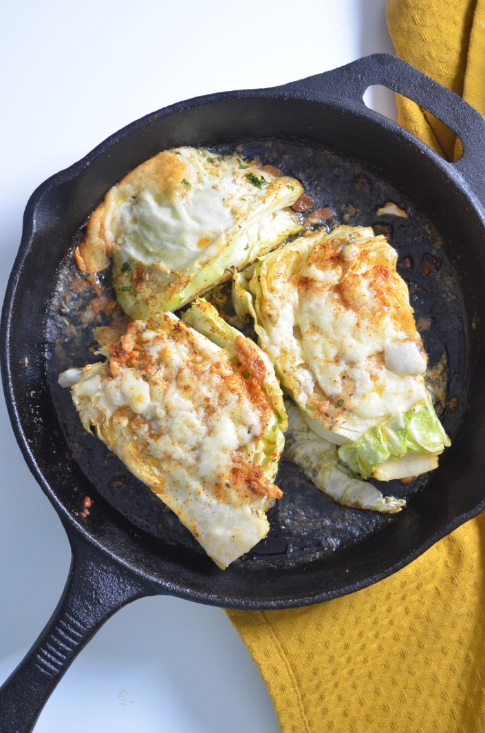 Baked Cheesy Cabbage Wedges