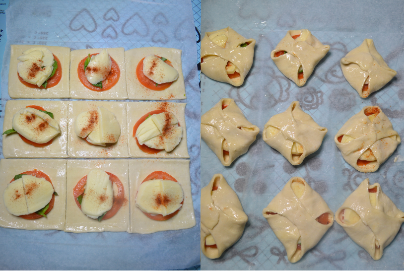Margherita Puff Pastry Bites Collage