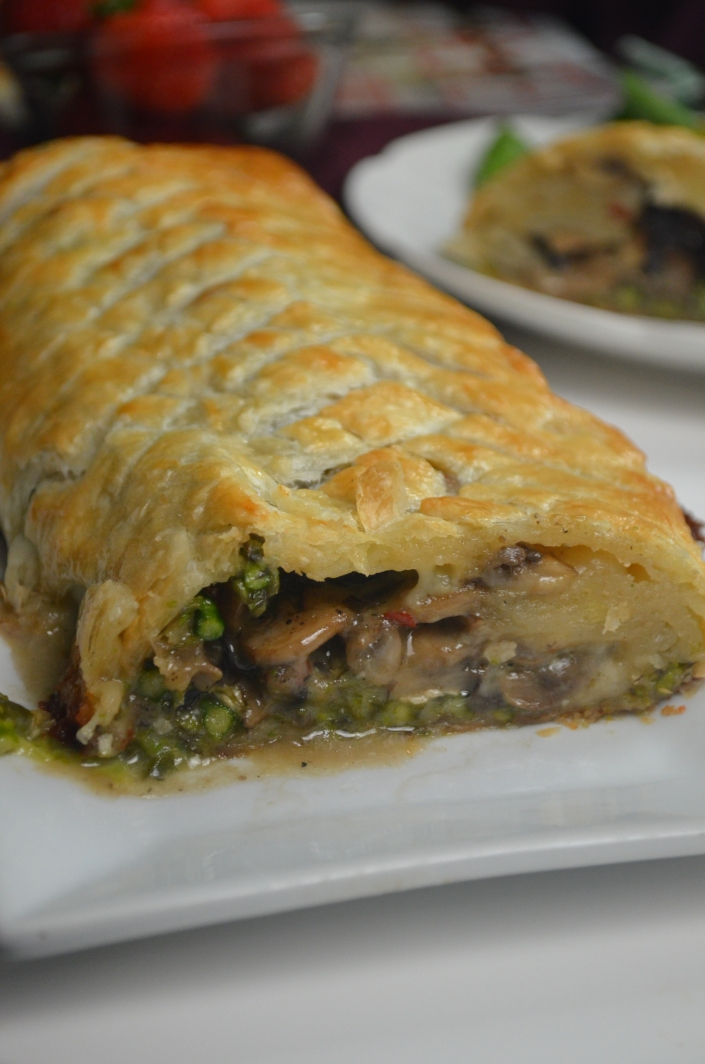Mushroom and Asparagus with Brie Wellington