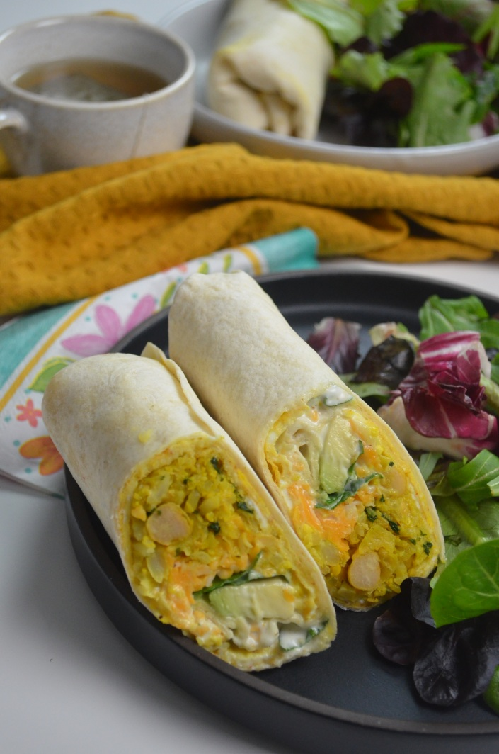chickpea and cauliflower wrap