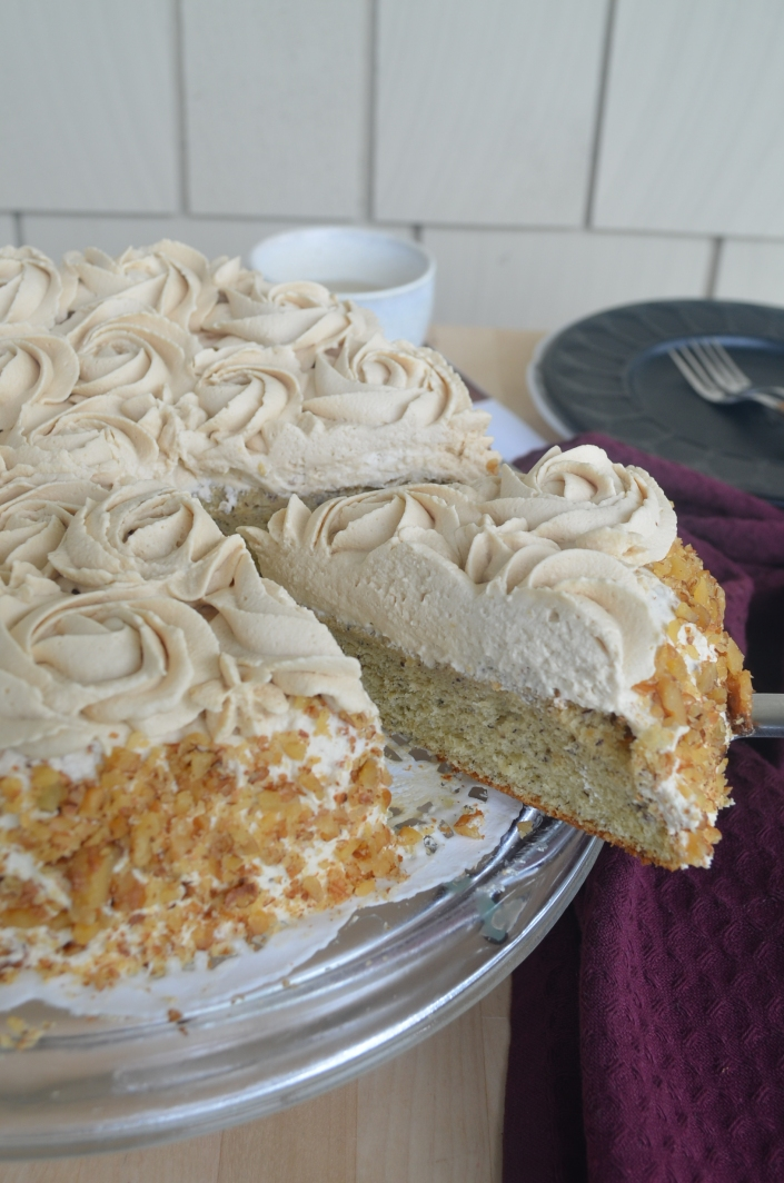 Banana Chiffon Cake with Espresso Whipped Cream Frosting