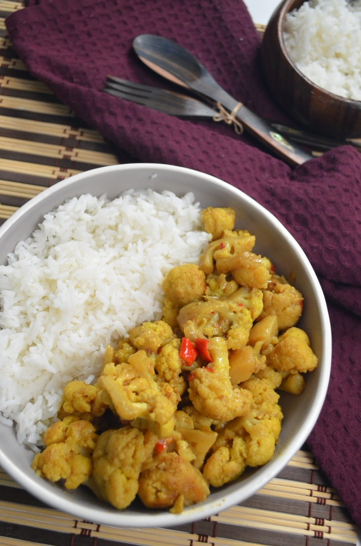 Cauliflower and Potato Curry in Coconut Sauce By SweetNSpicyLiving