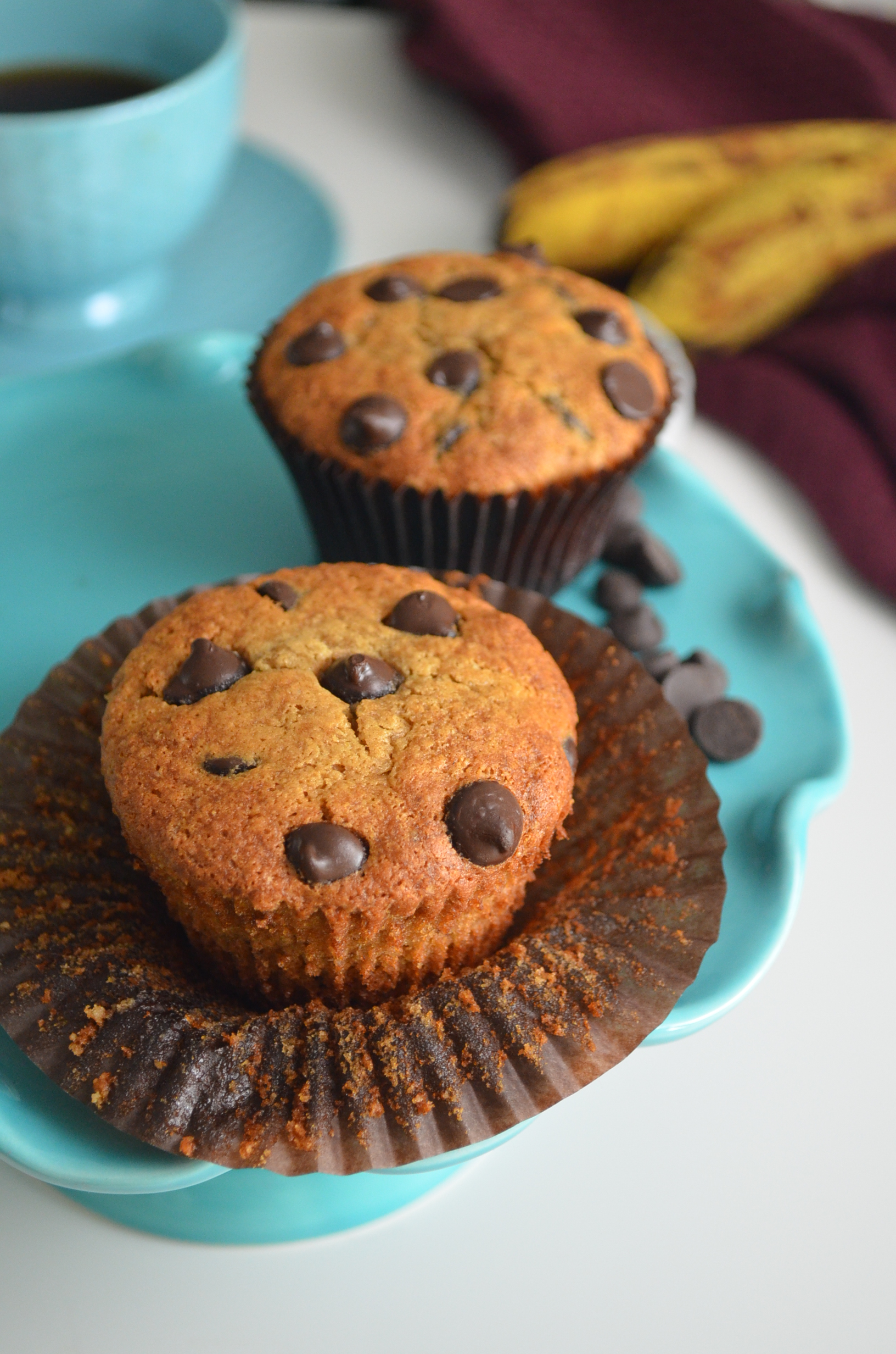 Gluten Free Small Batch Banana Chocolate Chip Muffin By SweetNSpicyLiving