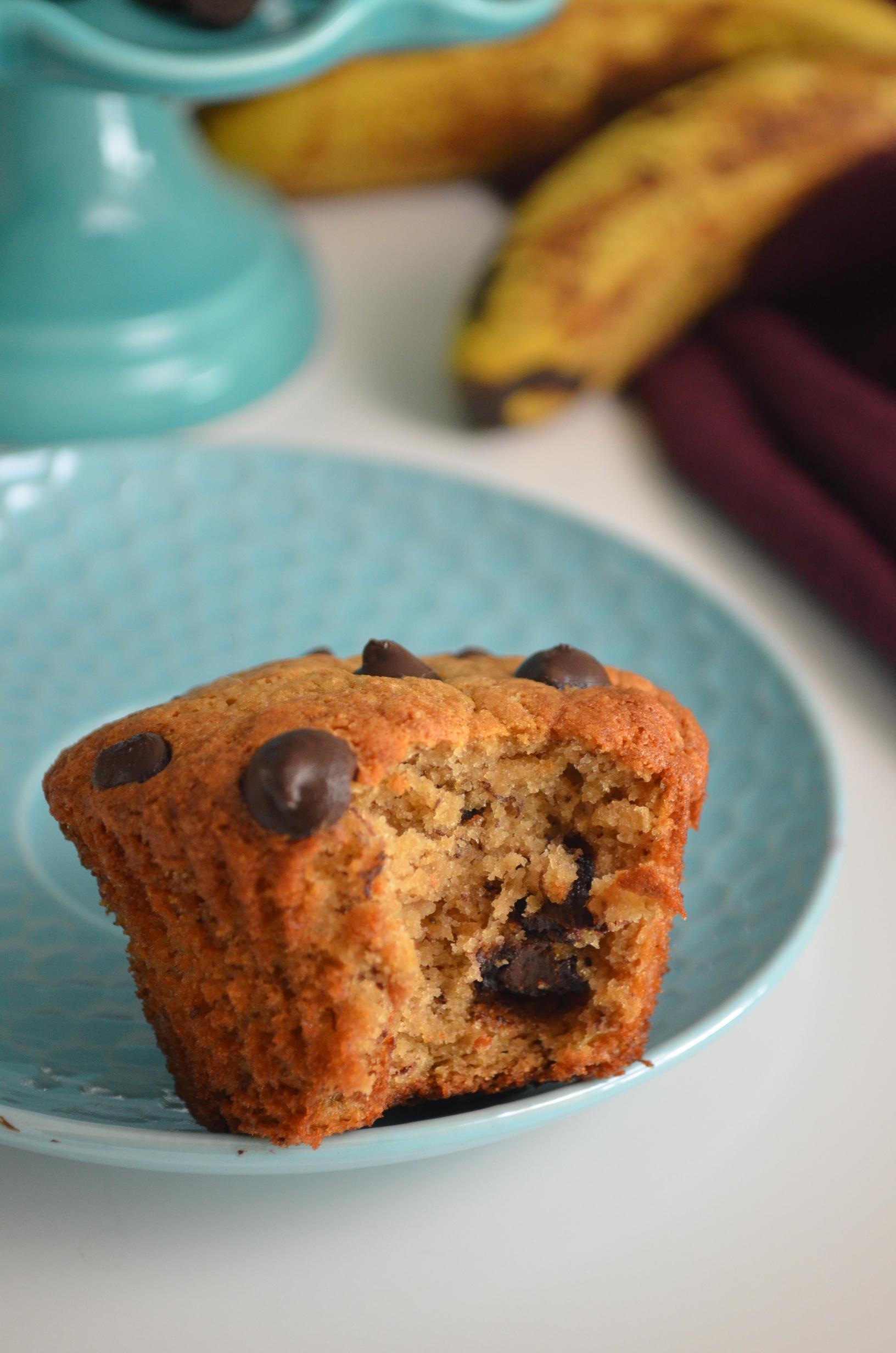 Gluten Free Small Batch Fluffy Banana Chocolate Chip Muffin