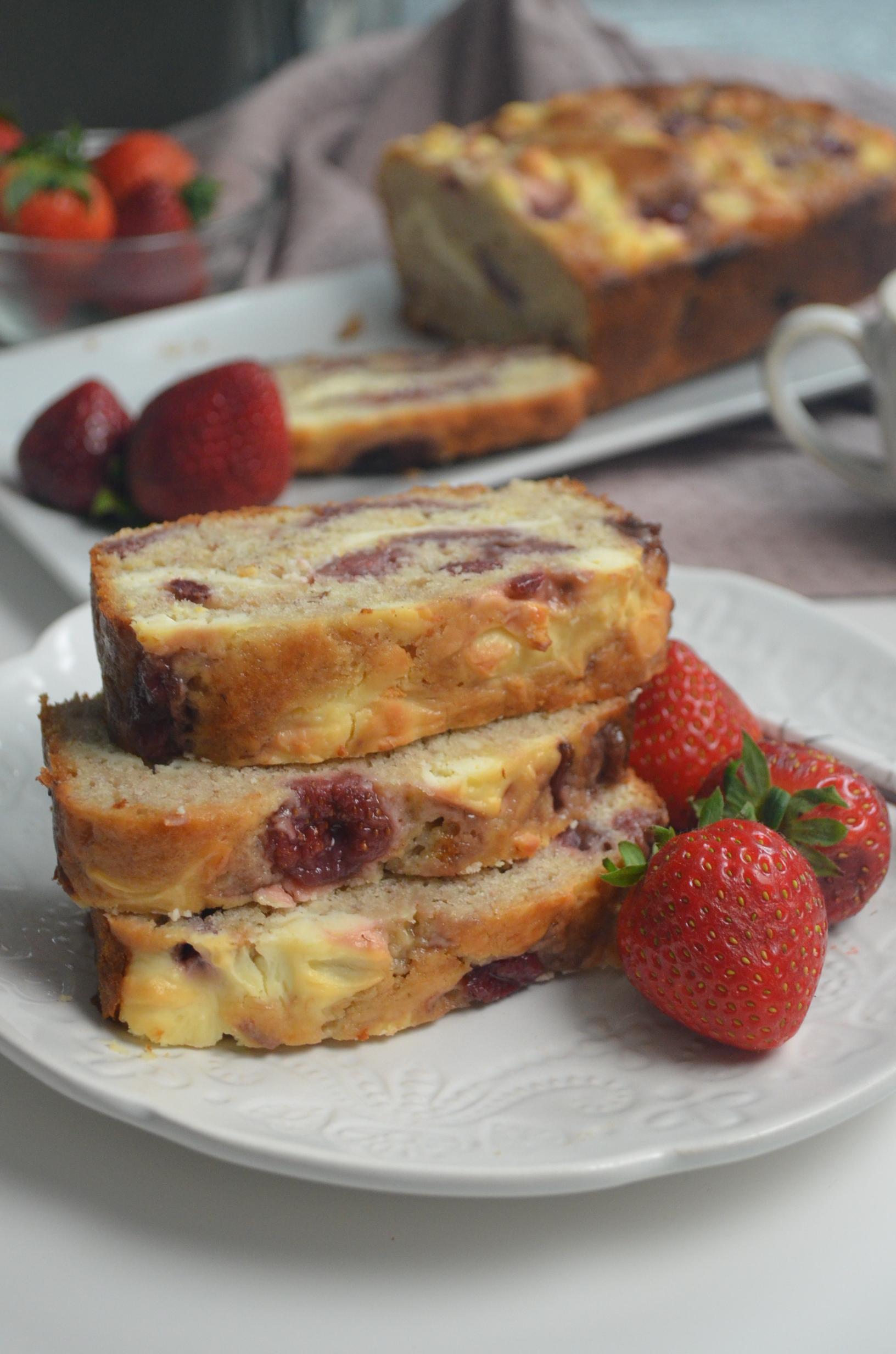 Strawberry Cream Cheese Swirl Banana Bread