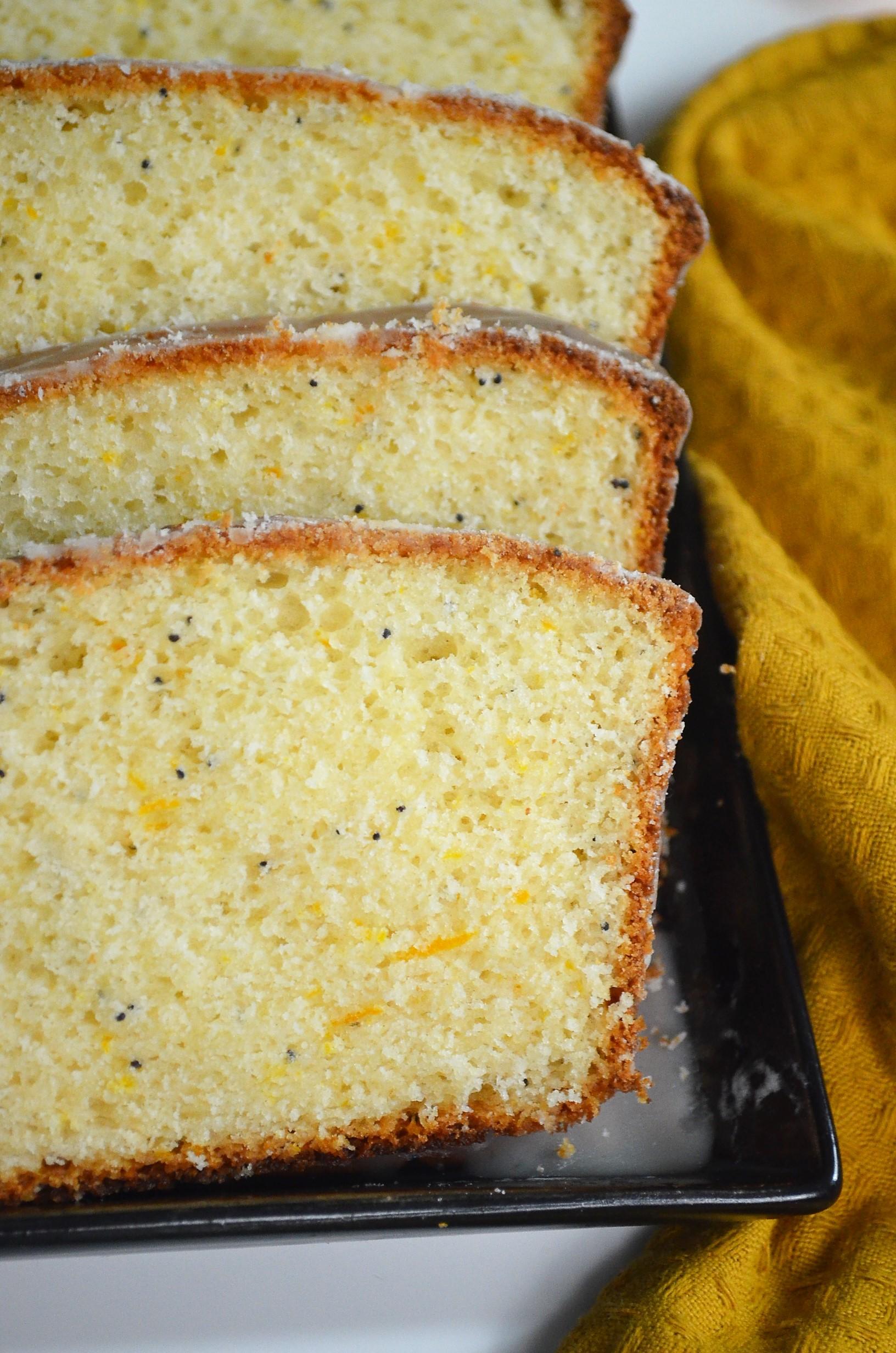 Orange Poppy Seed Loaf Bread with Orange Glaze