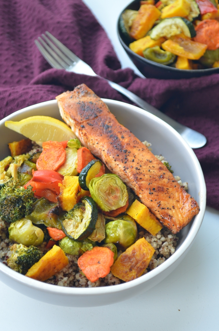 Pan Seared Salmon and Quinoa Veggie Bowl