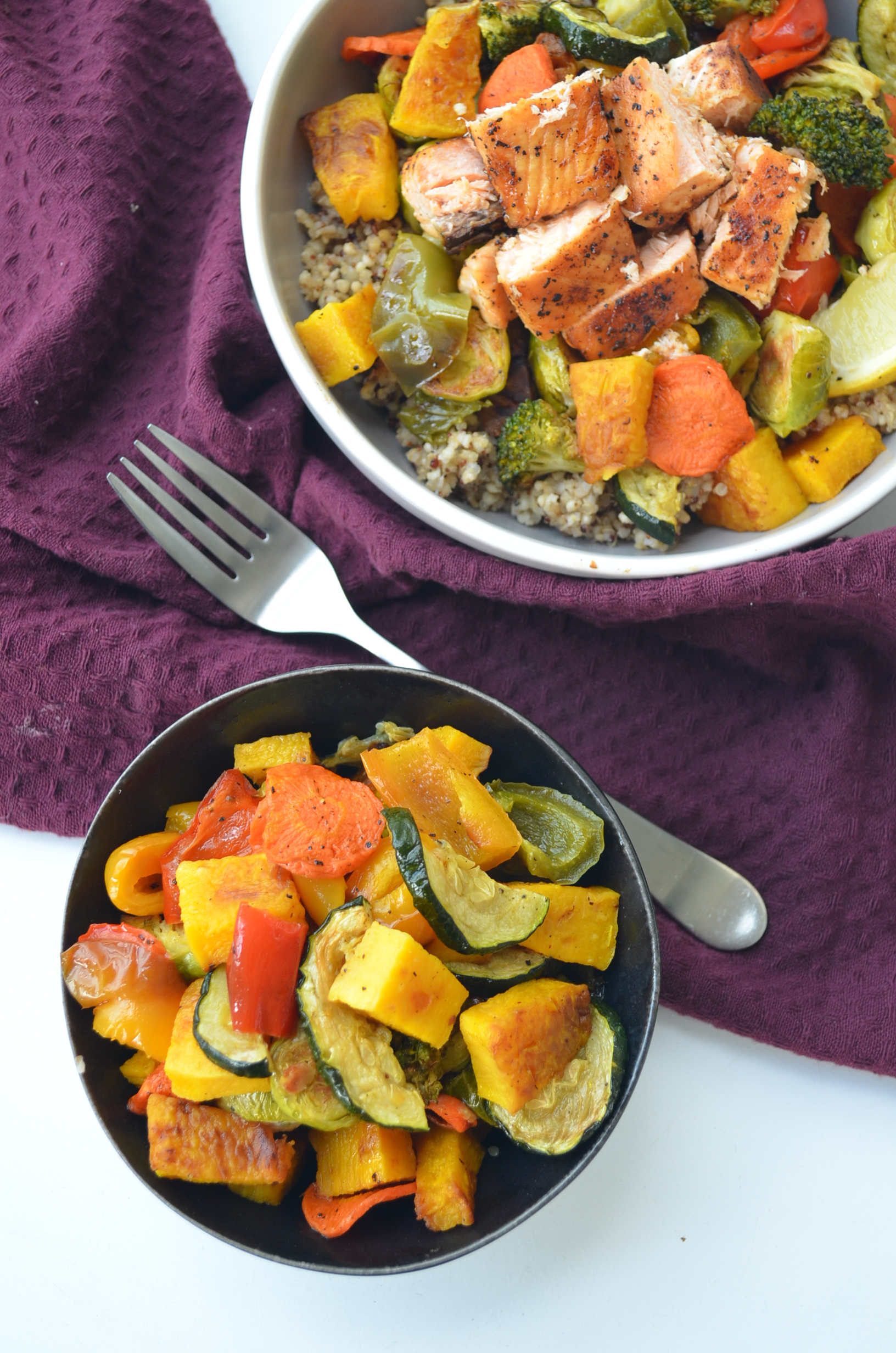 Pansheet Veggie and Salmon Bowl