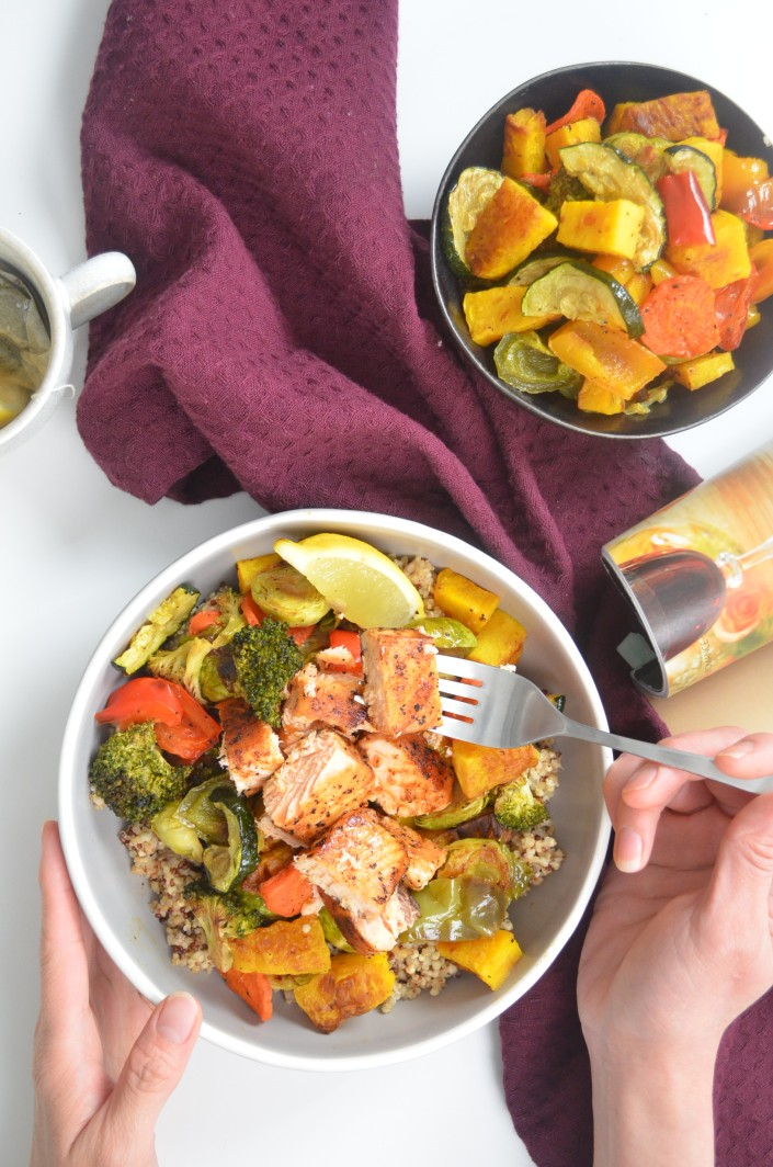 Salmon and Quinoa Veggie Bowl