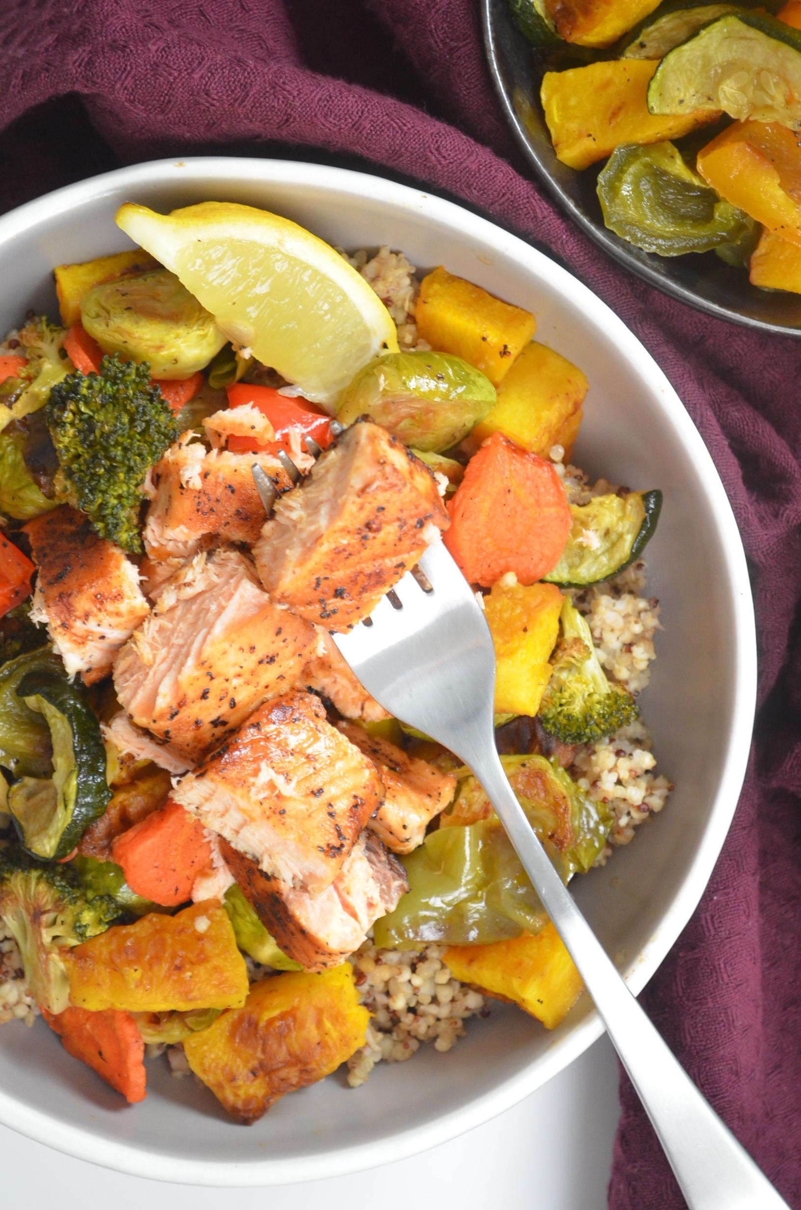 Salmon and Roasted Veggie Bowl