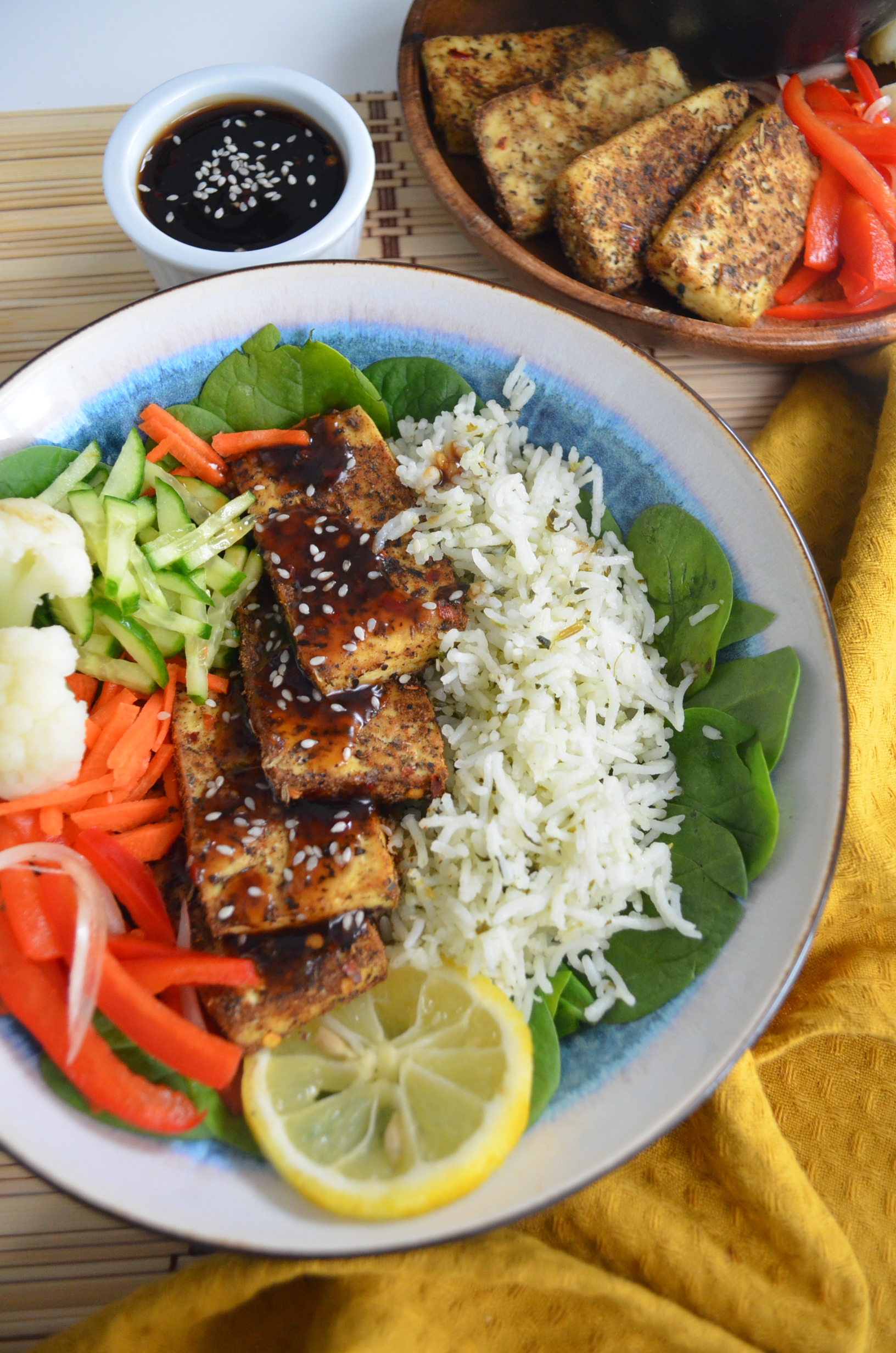 Baked Tofu Bowl with Cilantro Lime Rice