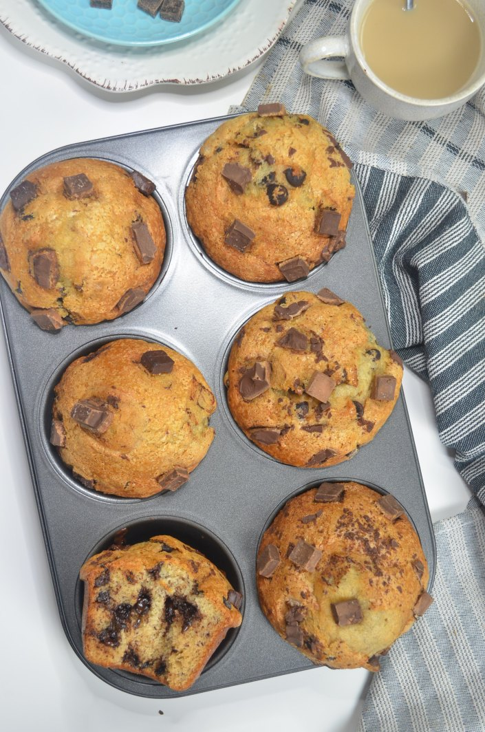 Bakery Style Chocolate Chip Banana Muffin