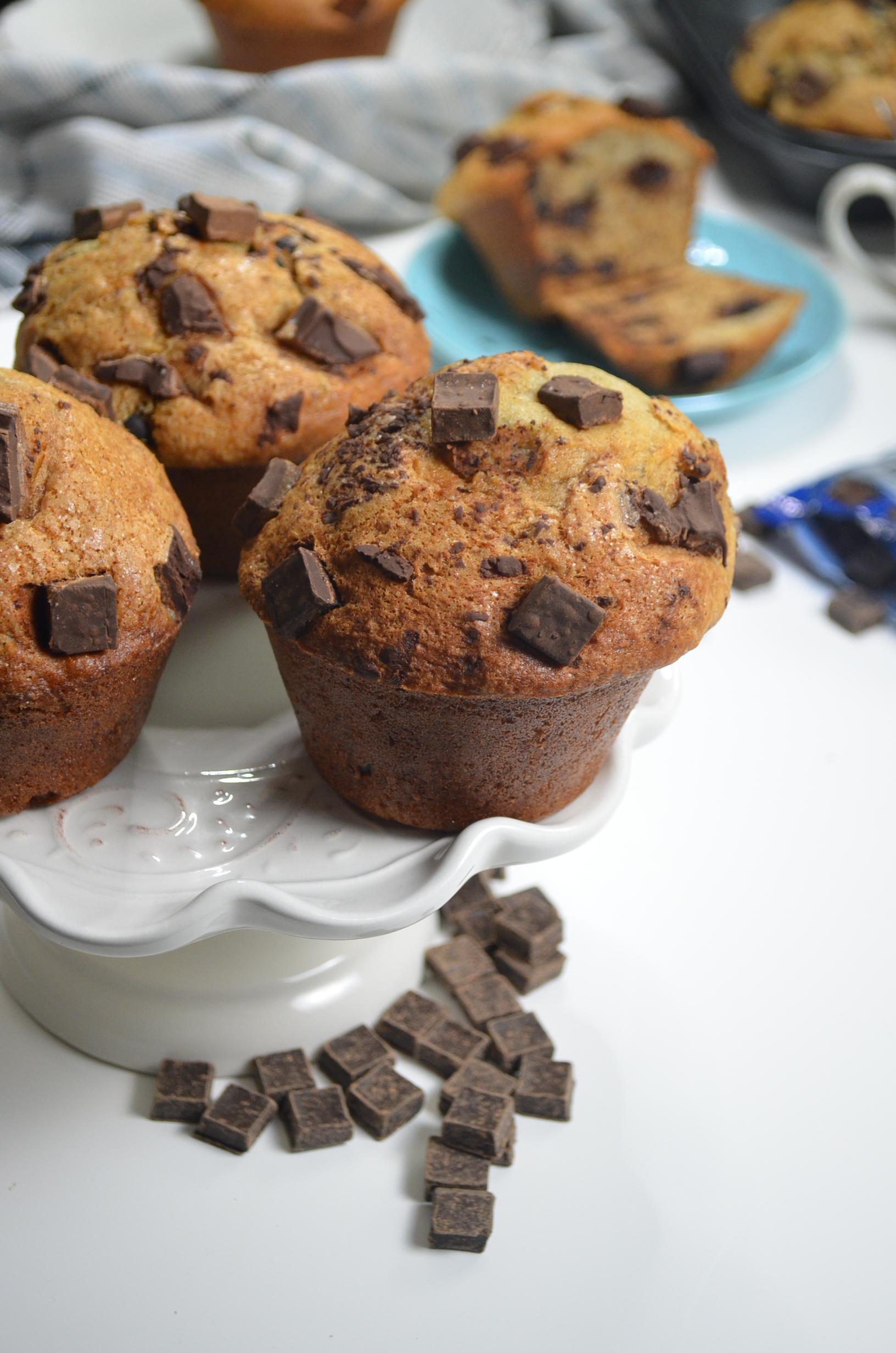 Bakery Style Tall Jumbo Chocolate Chip Banana Muffin