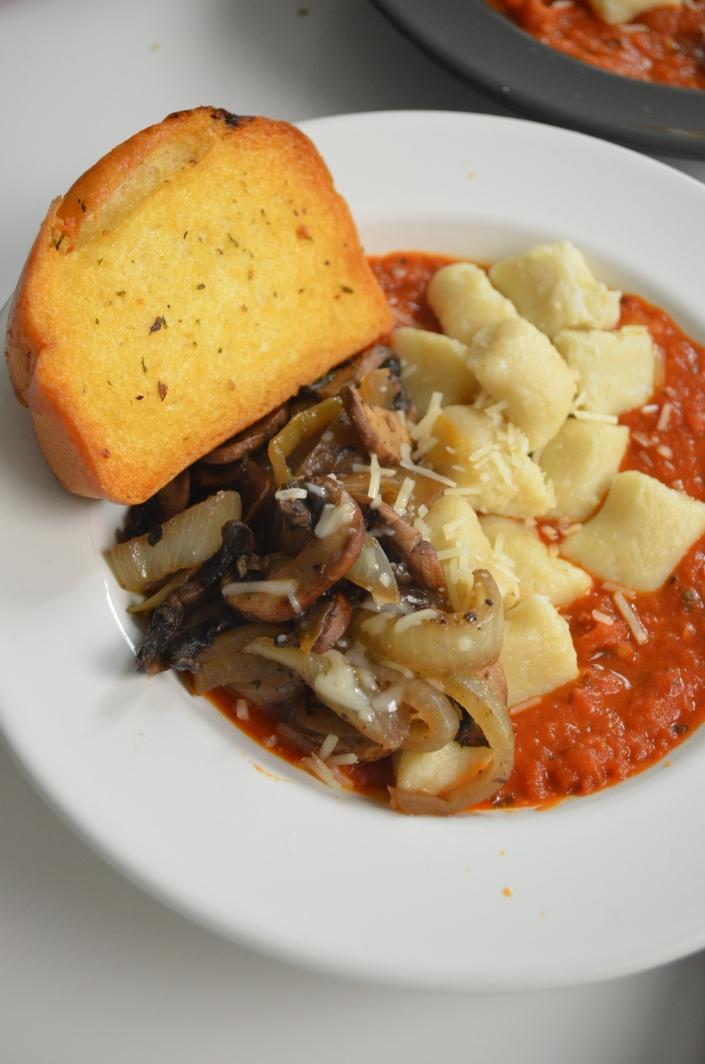 Homemade Potato Gnocchi with Sauteed Mushroom and Poach Eggs