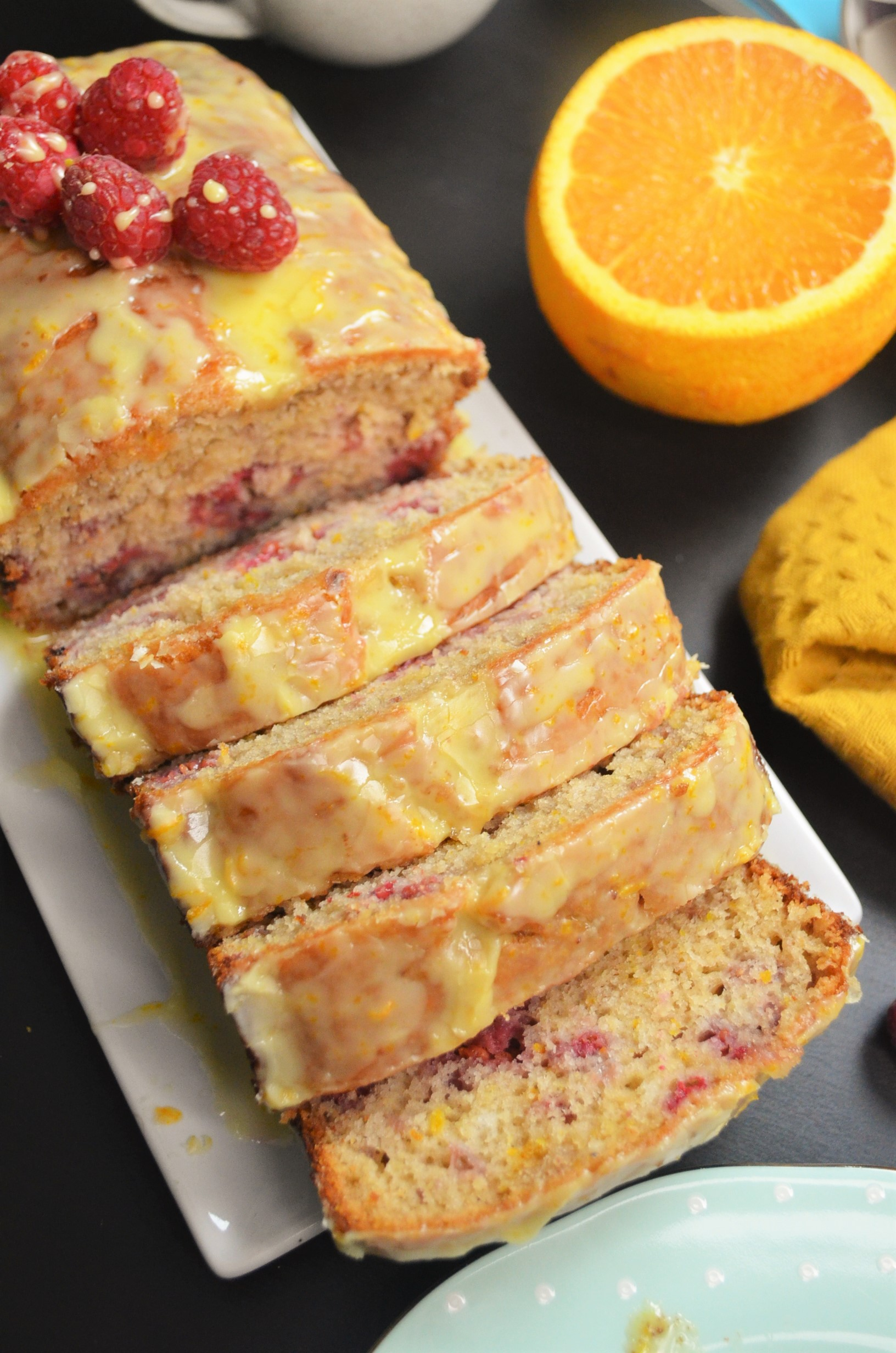 Orange and Raspberry Loaf with Orange Glaze