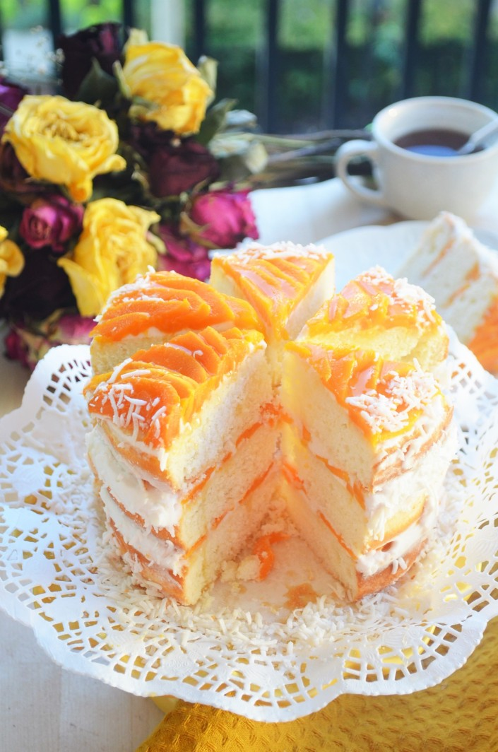 Small Batch Coconut Mango Cake By SweetNSpicyLiving