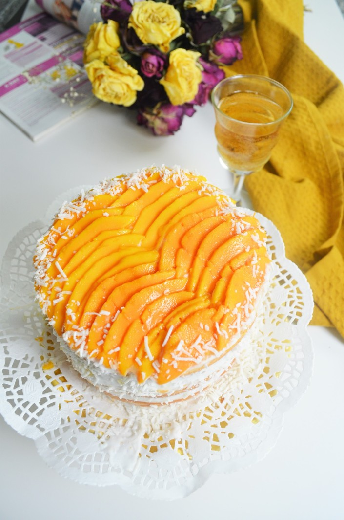 Small Batch Coconut Mango Cake with Coocnut Frosting By SweetNSpicyLiving