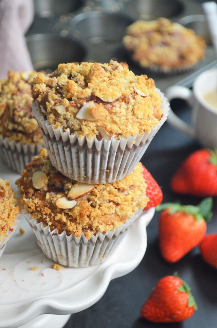 Small Batch Gluten Free Strawberry Streusel Banana Muffin By SweetnSpicyLiving