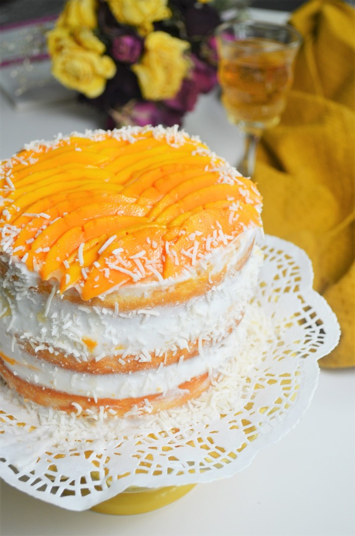 Small Batch Mango Coconut Cake