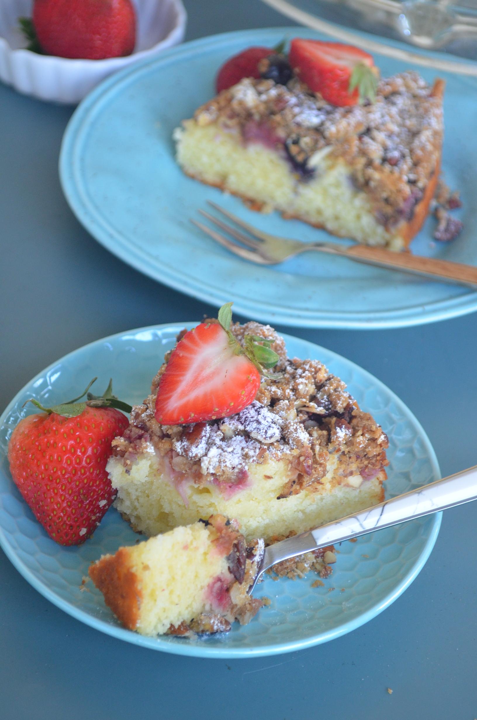 Berries Almond Crumb Cake