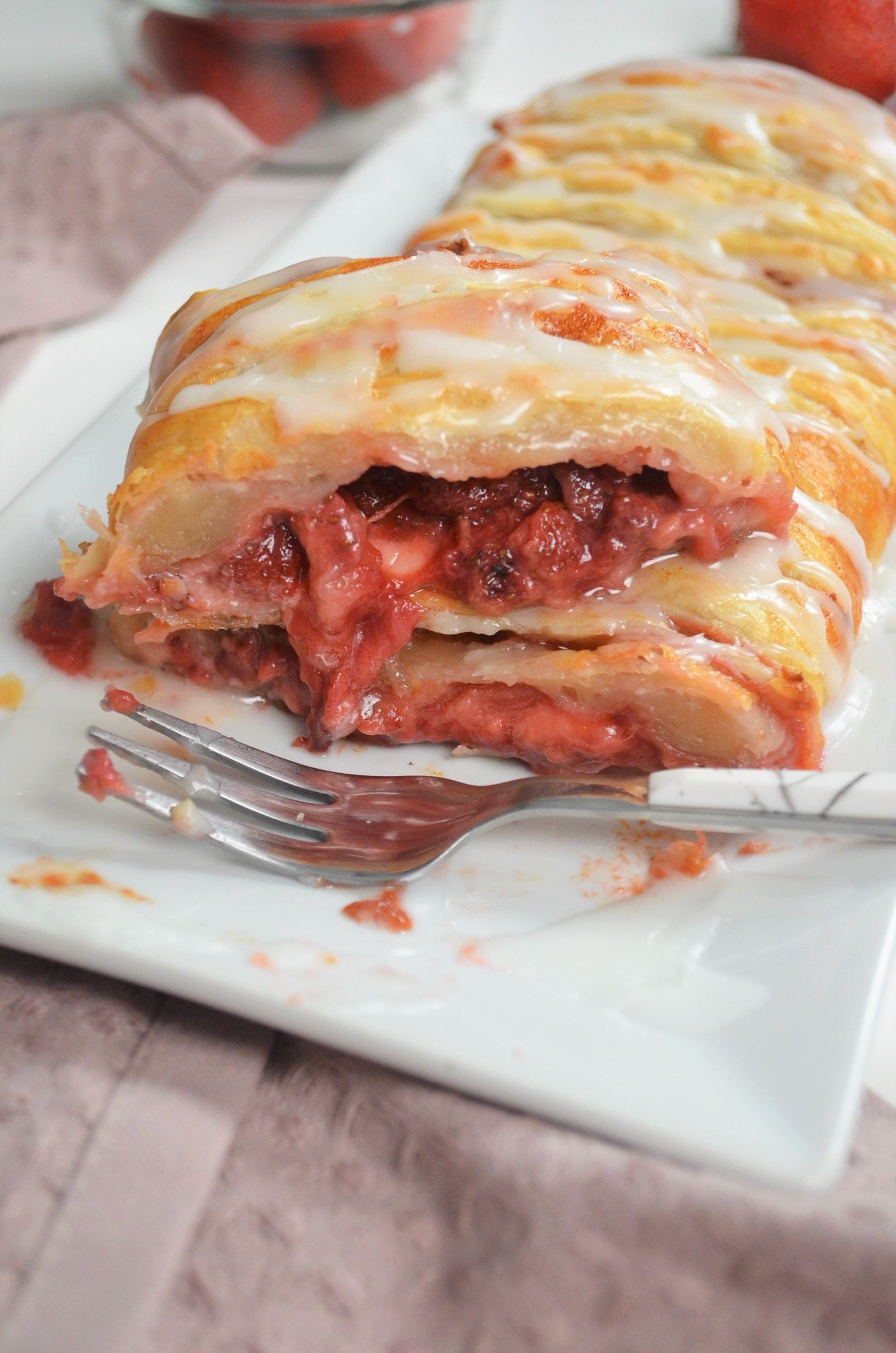 Braided Strawberry Bread Puff Pastry