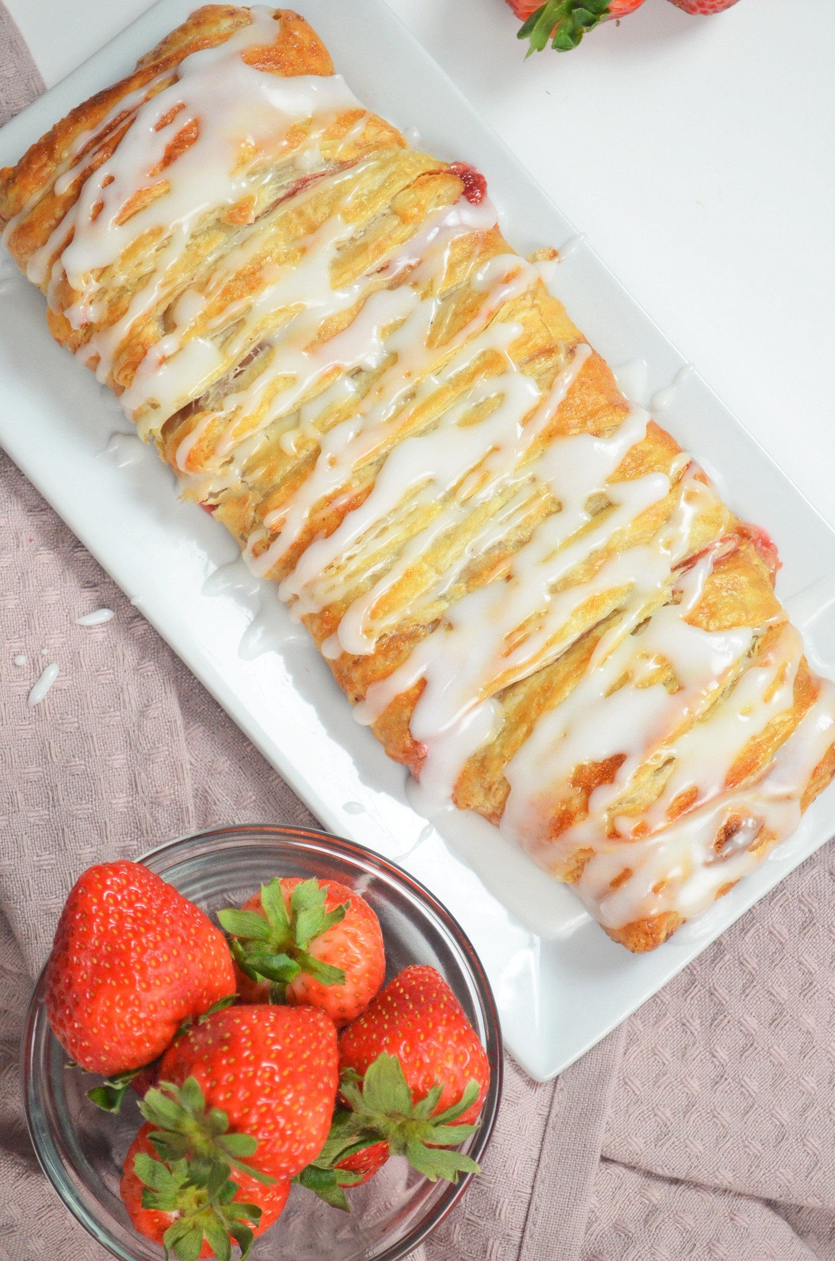 Braided Strawberry Puff Pastry