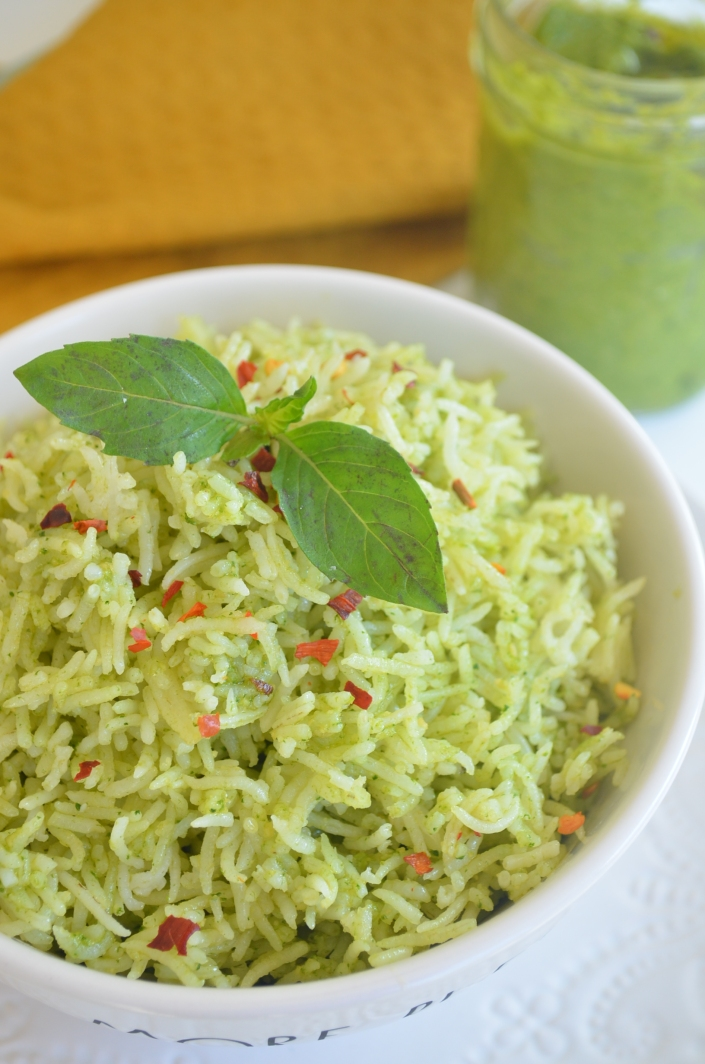 Homemade Spinach and cashew Pesto Rice