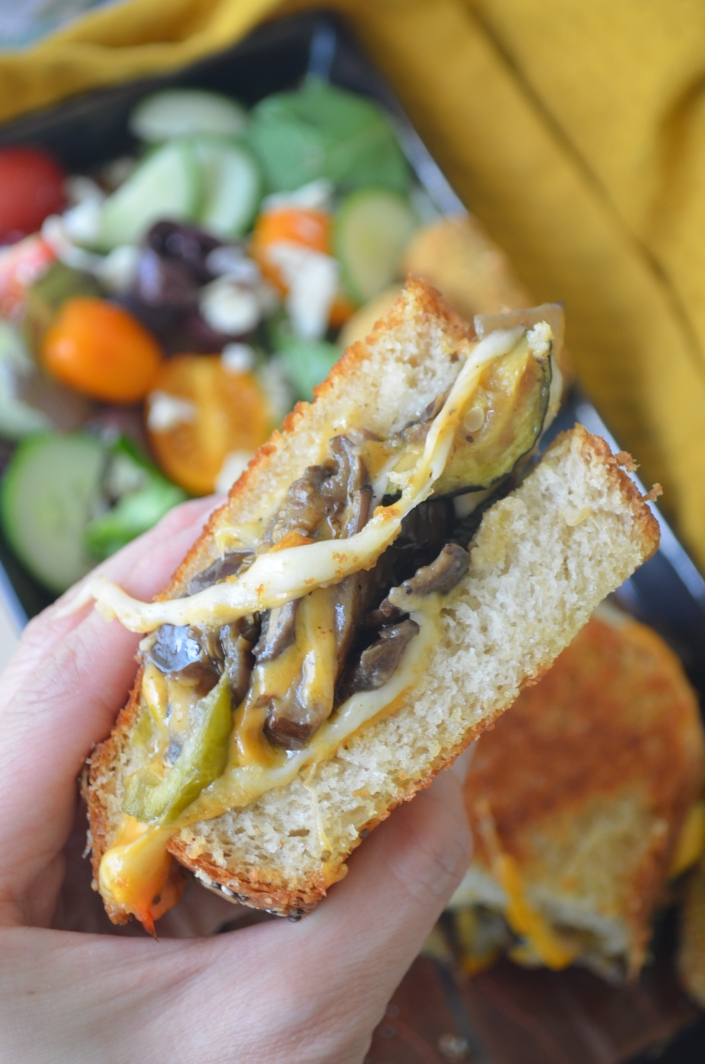 Roasted Vegetable Grilled Cheese with Cheddar and Mozzarella cheese
